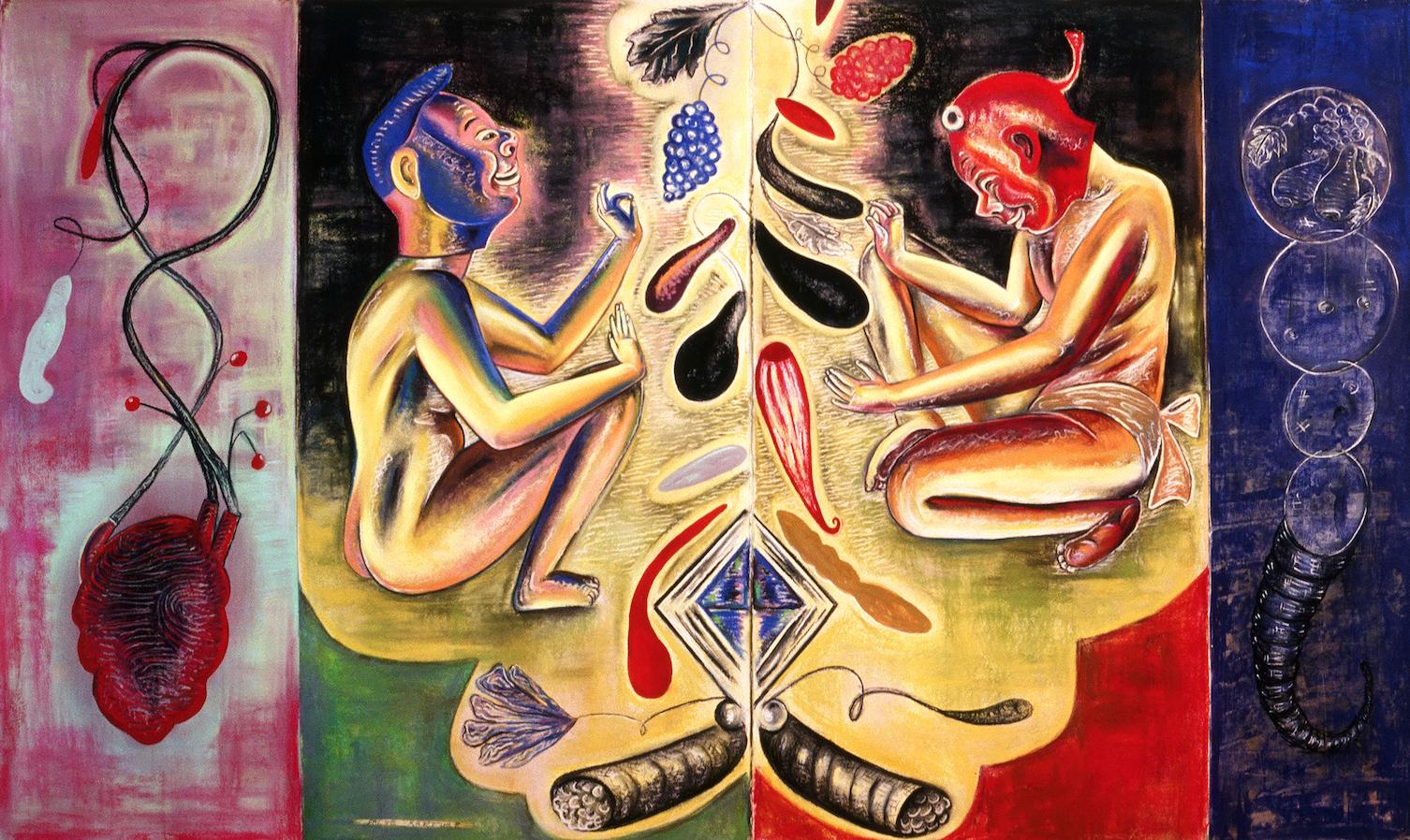 "False Rapture, 50"" × 84"", pastel on paper, 1988"