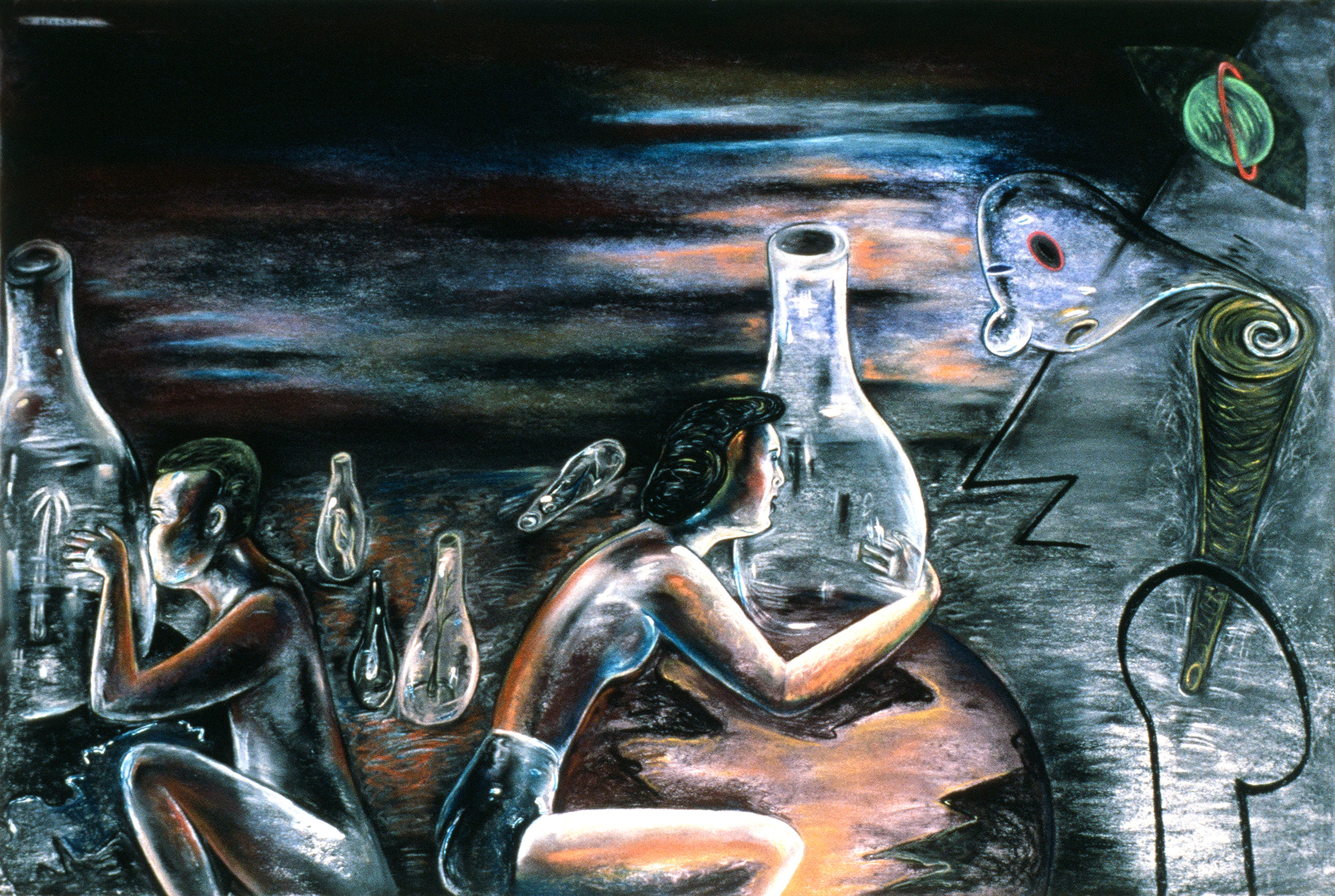 "In Between Different Worlds, 48"" × 60"", pastel on paper, 1988"
