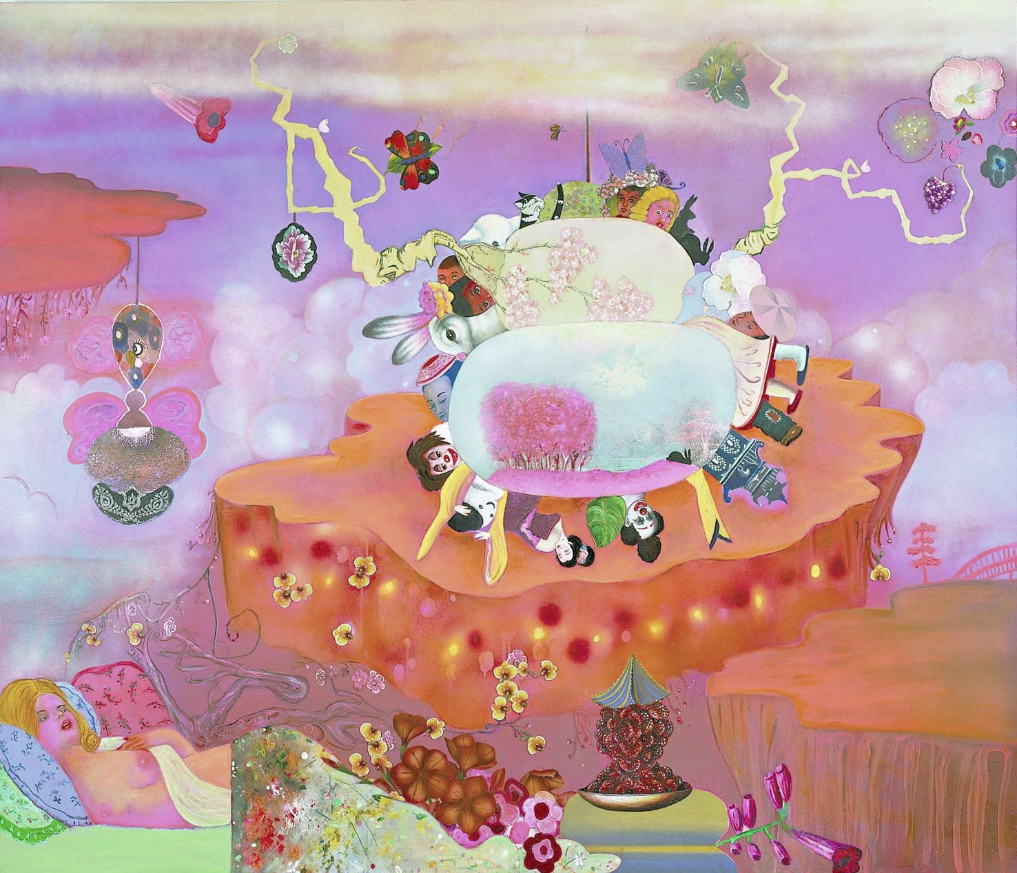 "Picturing a Model World, 50"" × 72"", mixed media and collage on canvas, 2003"