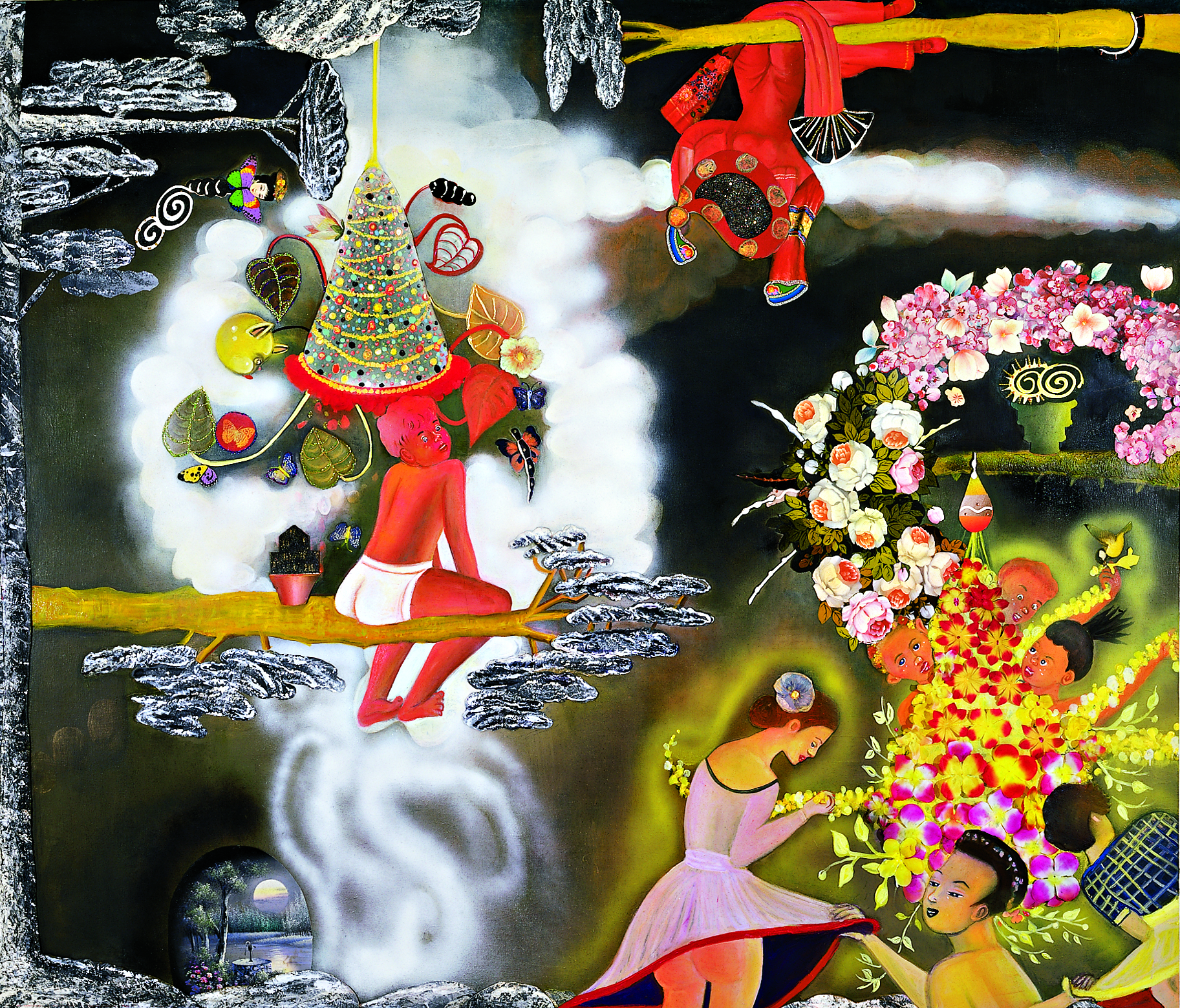 "Left Behind (Sputtering) Under A Cloud (Of Winter), 72"" × 84"", mixed media and collage on canvas, 2004"