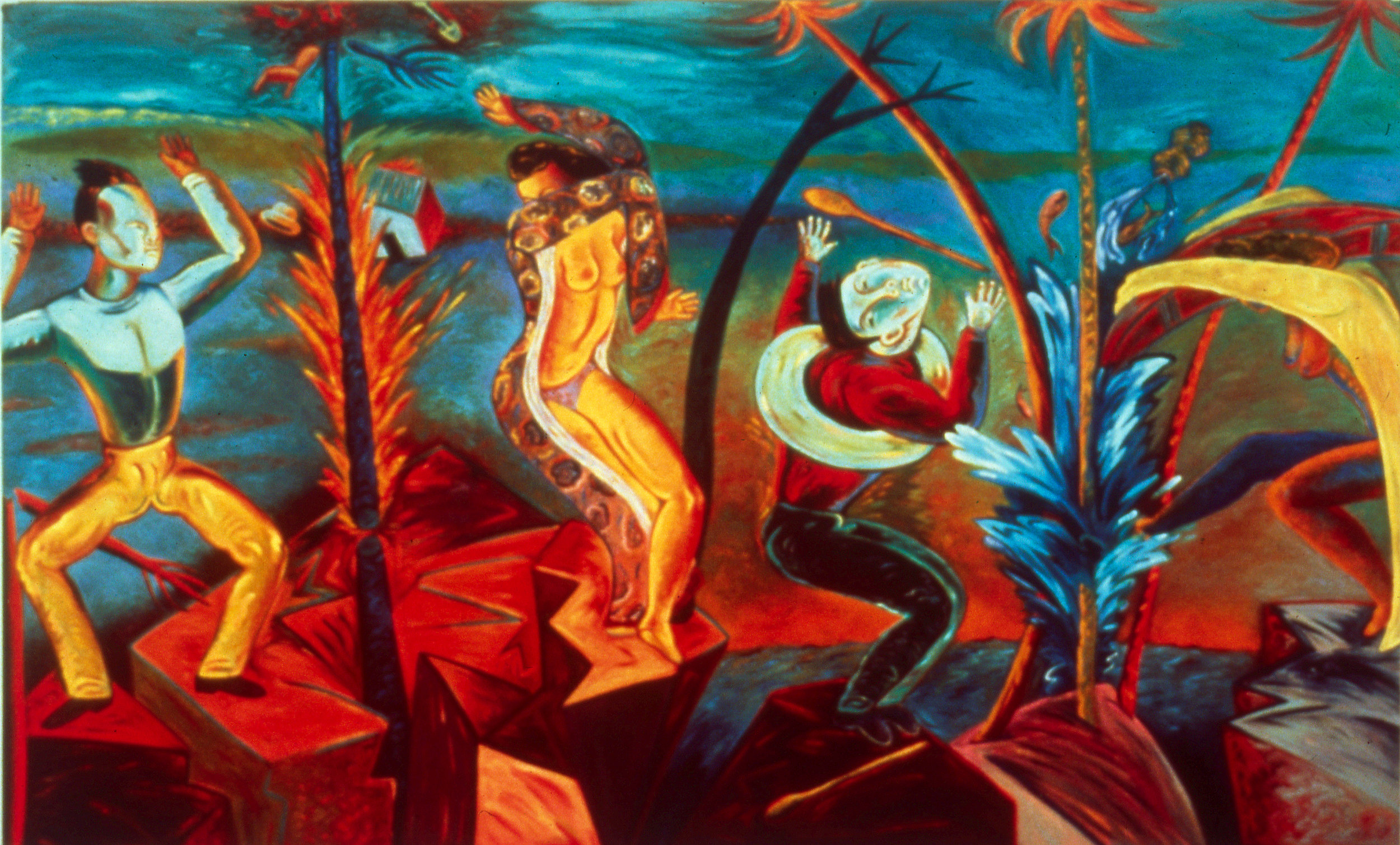 """Fire and Water, 60"""" × 96"""", oil on canvas, 1987"""