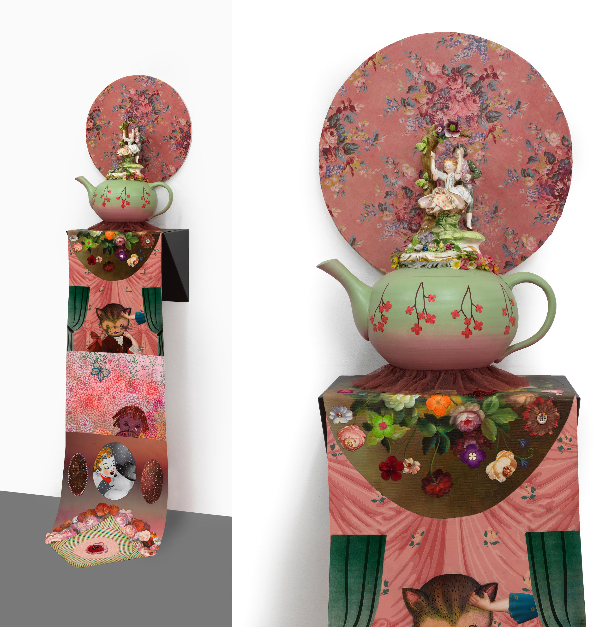 "Seasonal Lovers, sculpture/objects: 21"" × 18"" × 10"" Scroll: 82"" × 10"", mixed media, 2010"