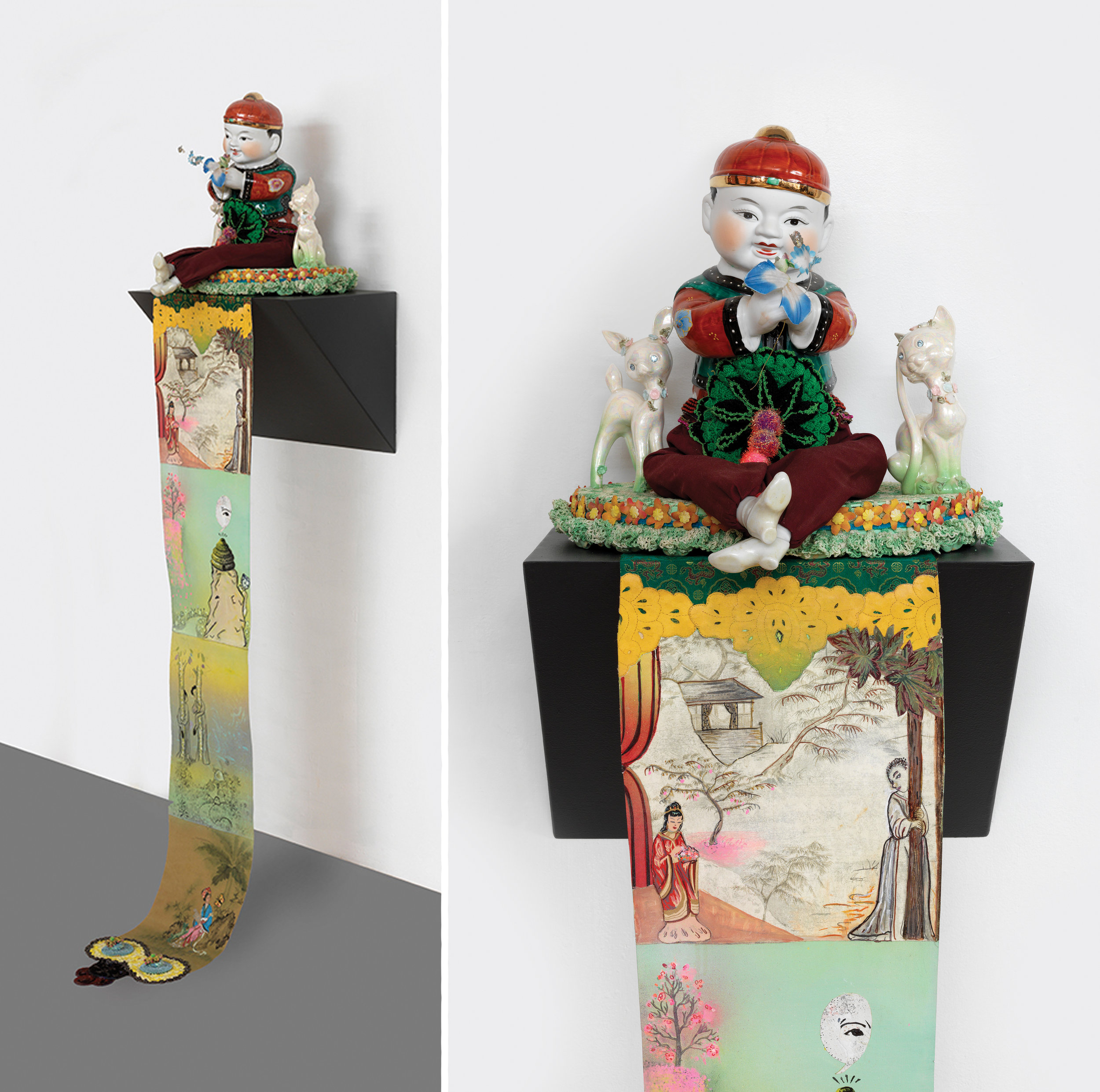 "Male-Lovemaking at the end of Springtime, sculpture/objects: 18"" × 8"" × 18"" Scroll: 60"" × 10"", mixed media, 2006"