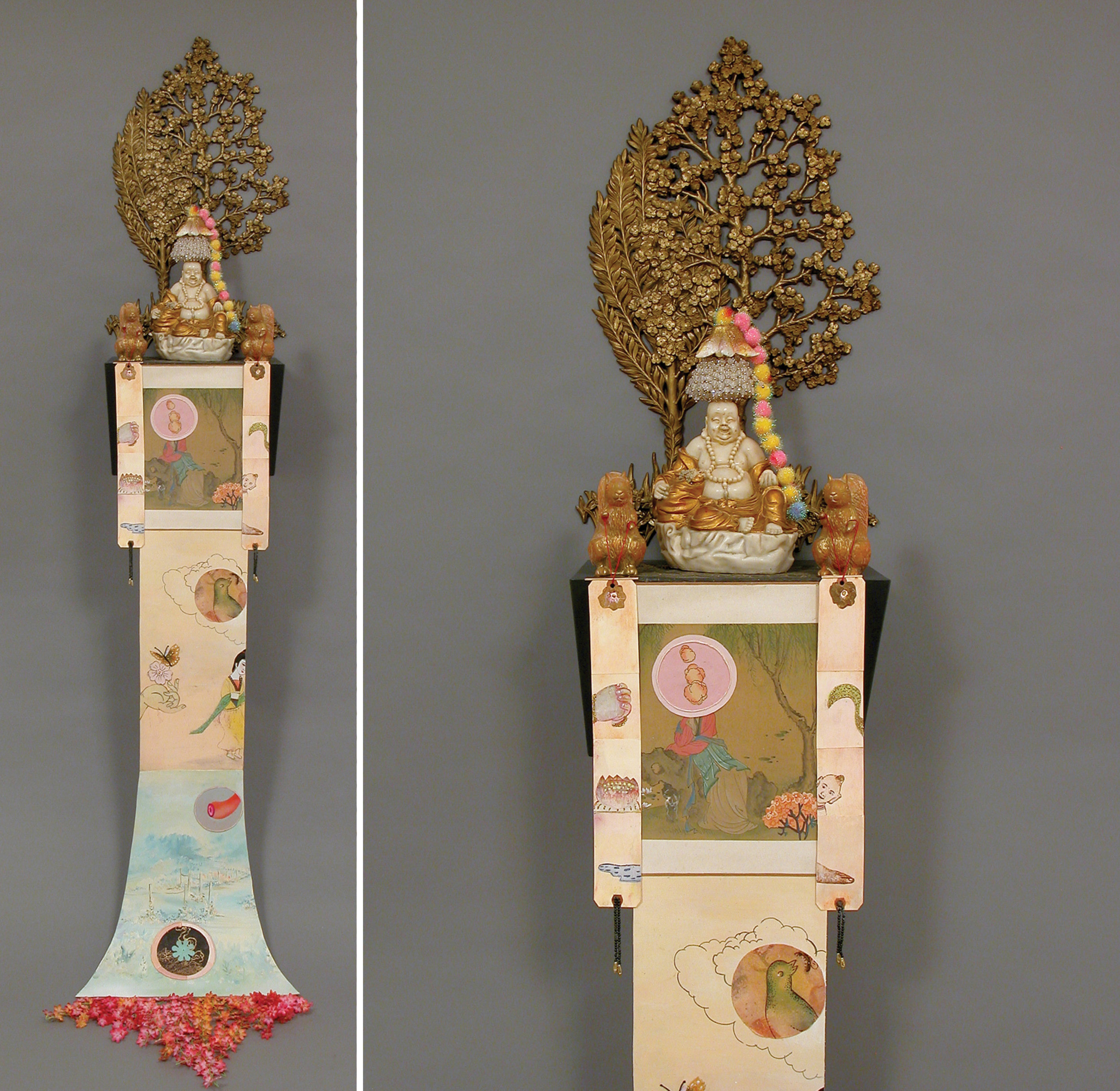 "Dreaming of Springtime, sculpture/objects: 14"" × 10"" × 9"" Scroll: 60"" × 14"", mixed media, 2006"