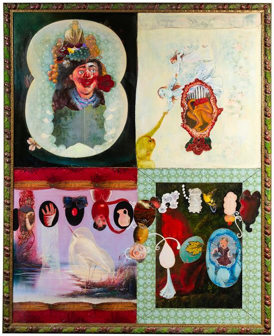 "Clown with Bubbles, 60"" × 48"", mixed media and collage on canvas, 1991"
