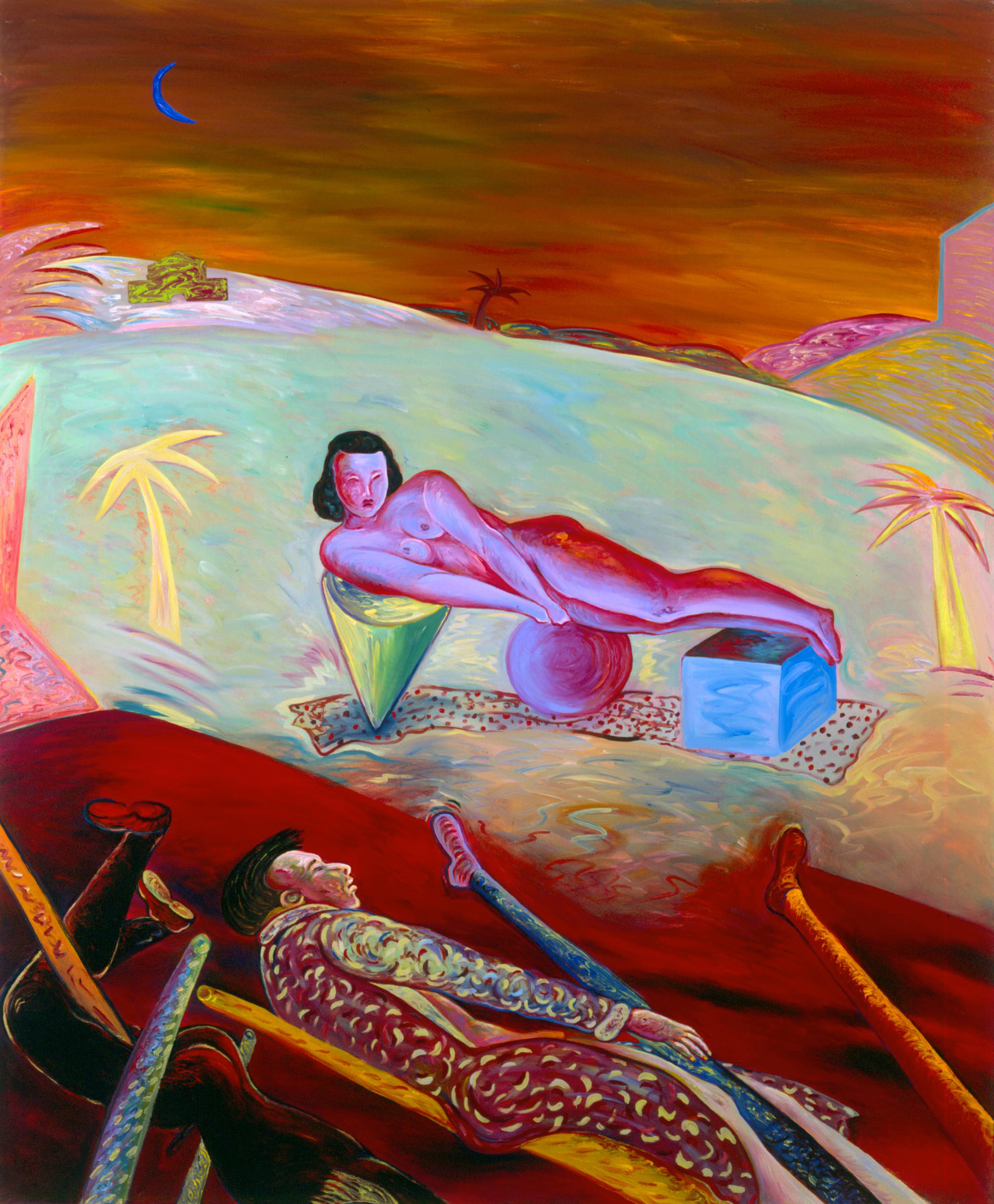"""Pink Nude on Cone, Sphere, and Cube, 72.5"""" × 60.5"""", oil on canvas, 1985"""