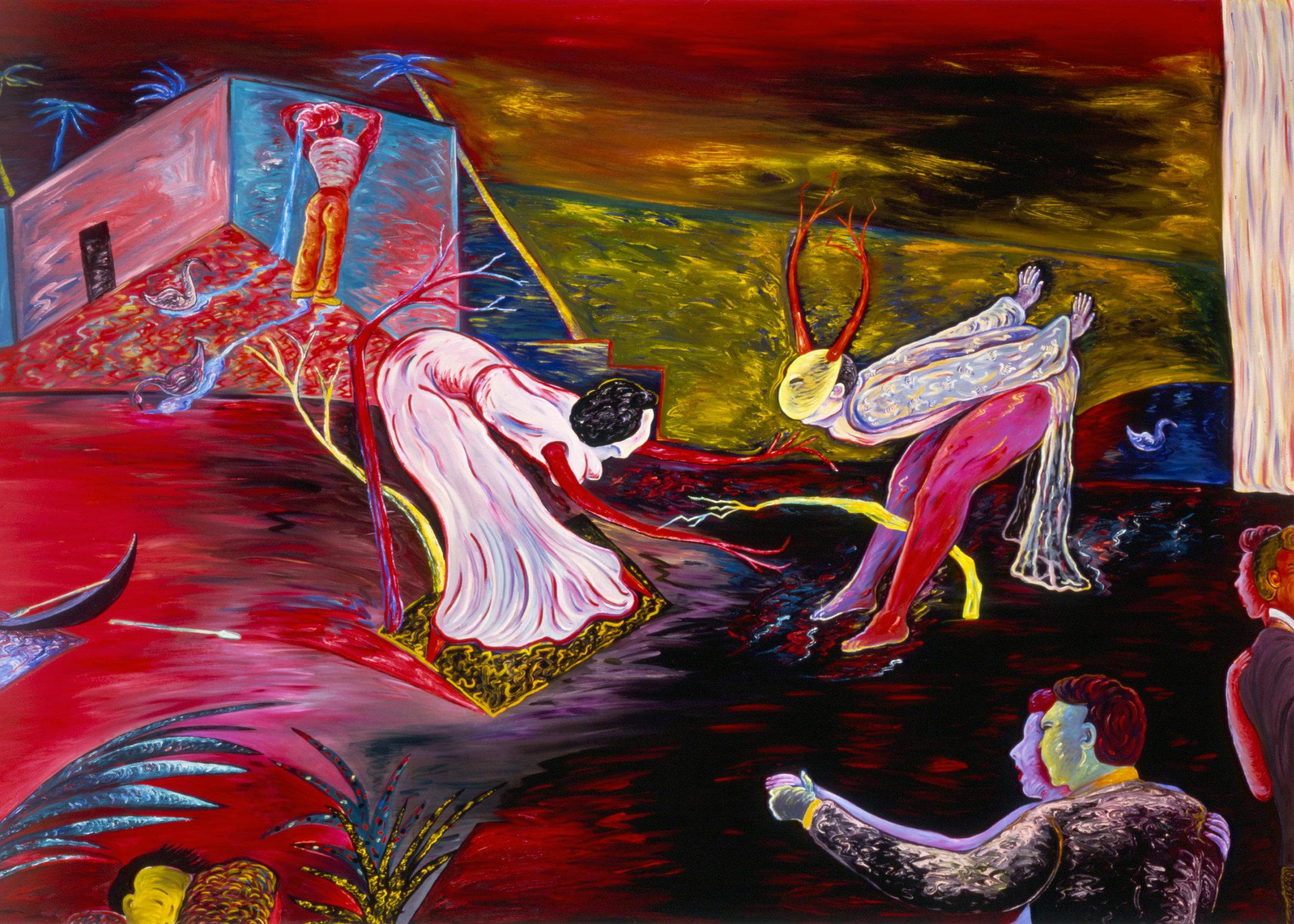 "The Dance, 72"" × 96"", oil on canvas, 1986"