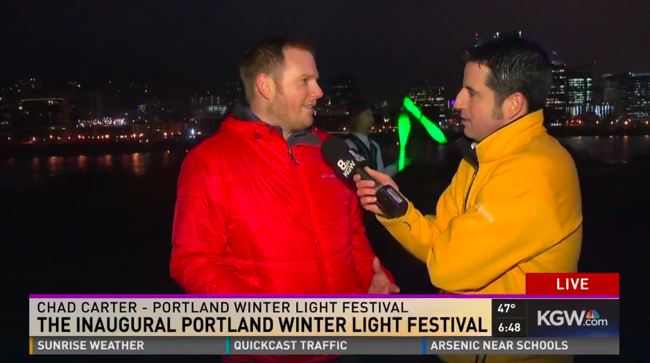 Appearing live on KGW at Sunrise promoting the Portland Winter Light Festival