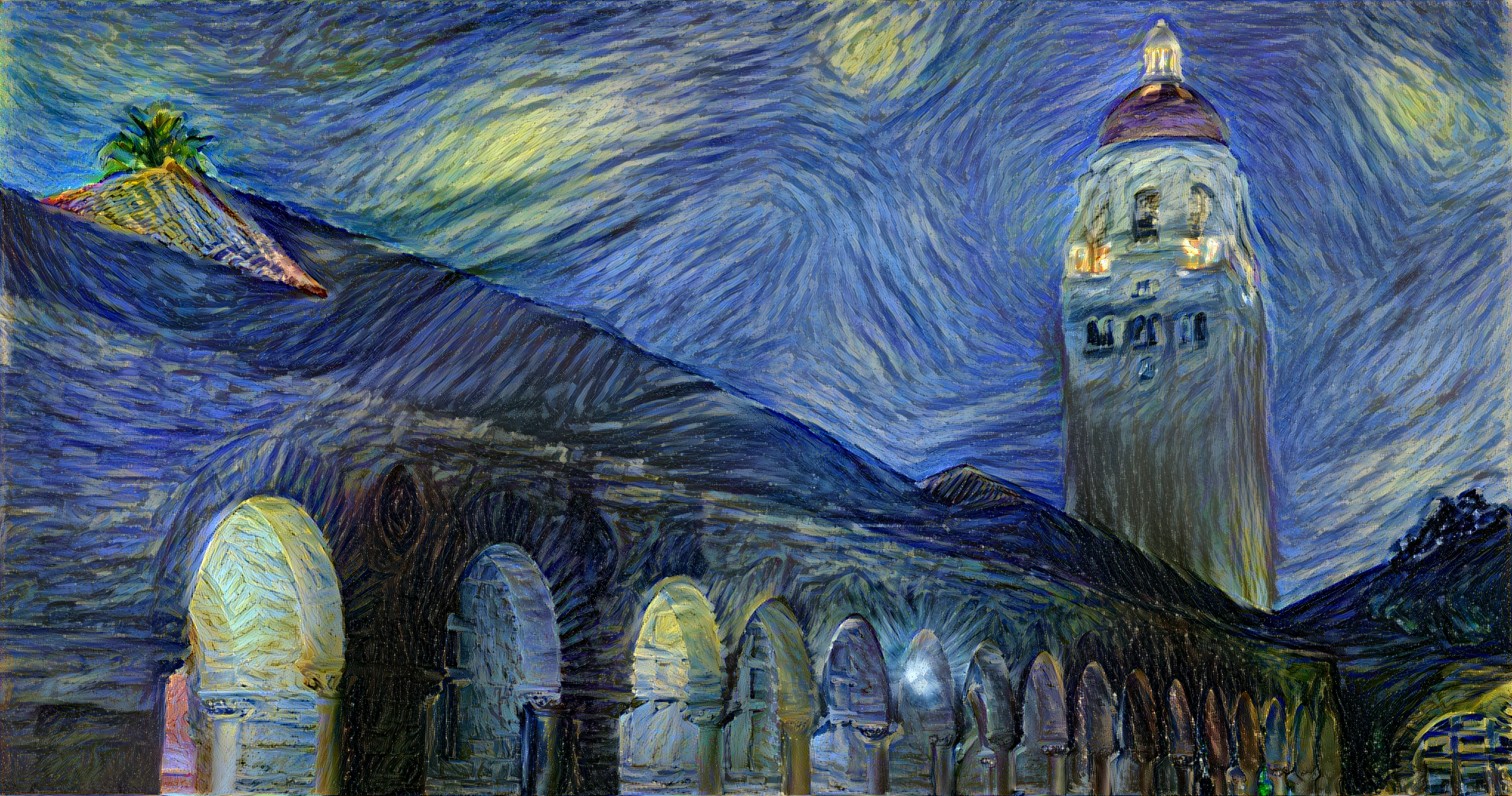 This image was generated by a convolutional neural network using Gatys, Ecker, and Bethge (2015) in Torch. Training data was Van Gogh Starry Night (1889) via Google Art Project. [ Arxiv ] [ GitHub  /  Johnson ]