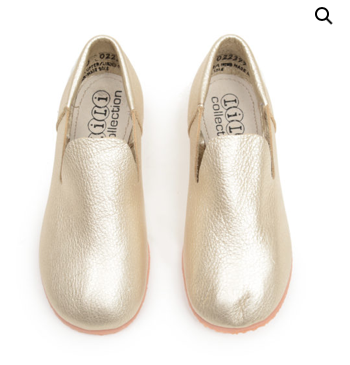 Glamour Gold Leather Loafers — Baby