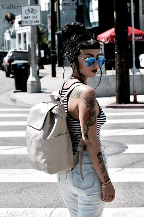 Kinney Backpack (Stone) - Convertible Cross-body - Pre-order