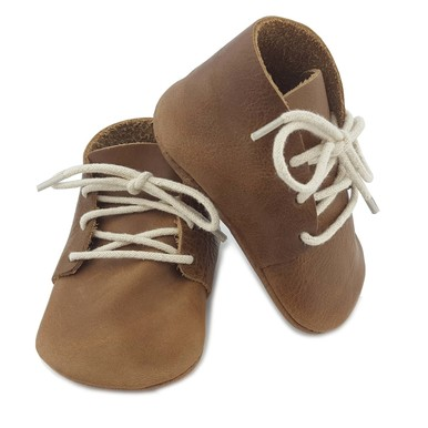 BROWN LEATHER LACE UP BOOTIES