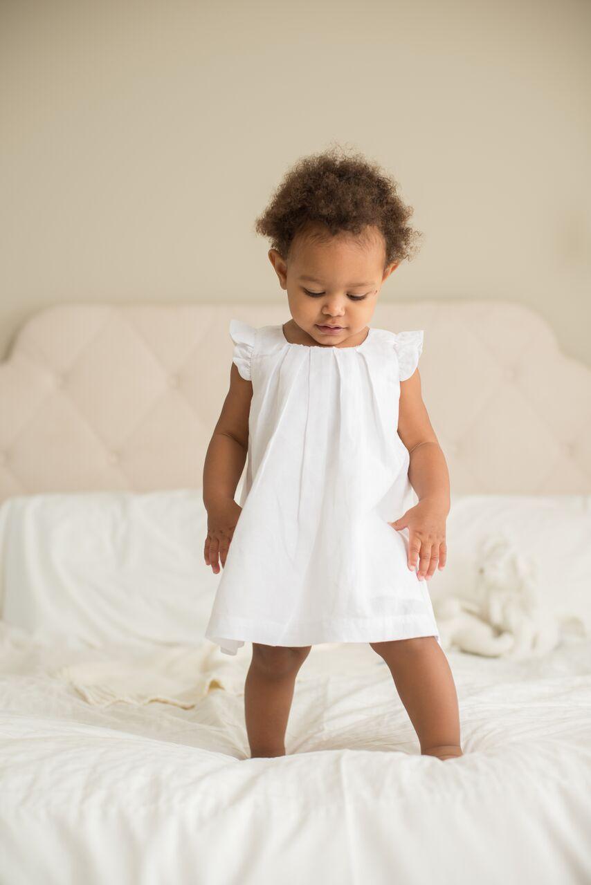 White Box Pleat Linen Dress