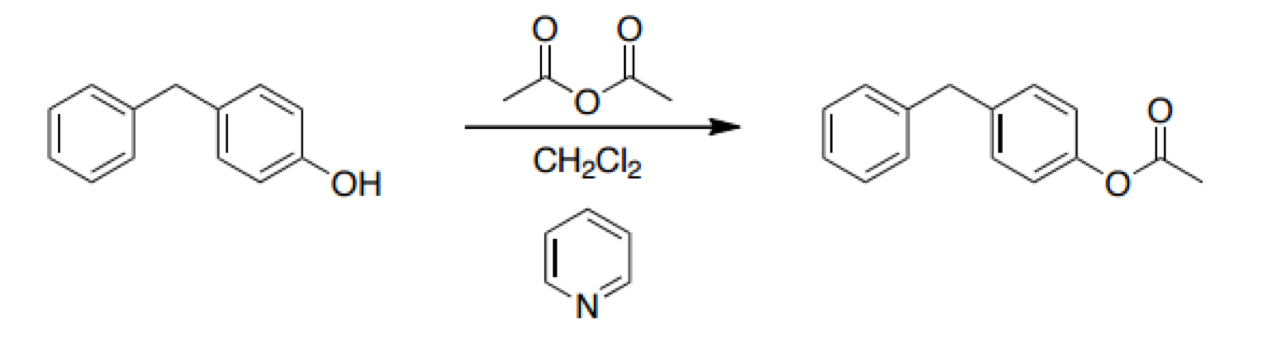 Figure 2. The chemical reaction that produced our product, 4-AcDM.