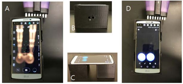 Fig. 2  Operation of the portable device capable of sensing HIV-1 PR and HCV PR. (A) Before adding ODI with the multi-pipette in a dark room, (B) Two holes for injecting ODI solution using the multi-pipette, (C) and (D) After taking the images in the presence of HIV-1 PR and HCV PR.