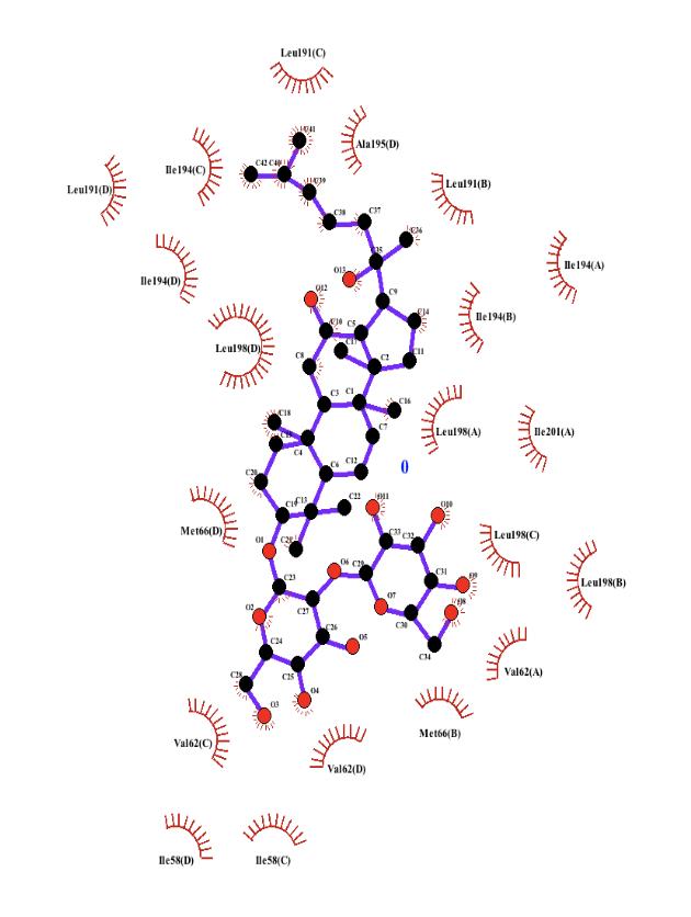 Figure 2.  LigPlot of AQP9 and HTS13286.