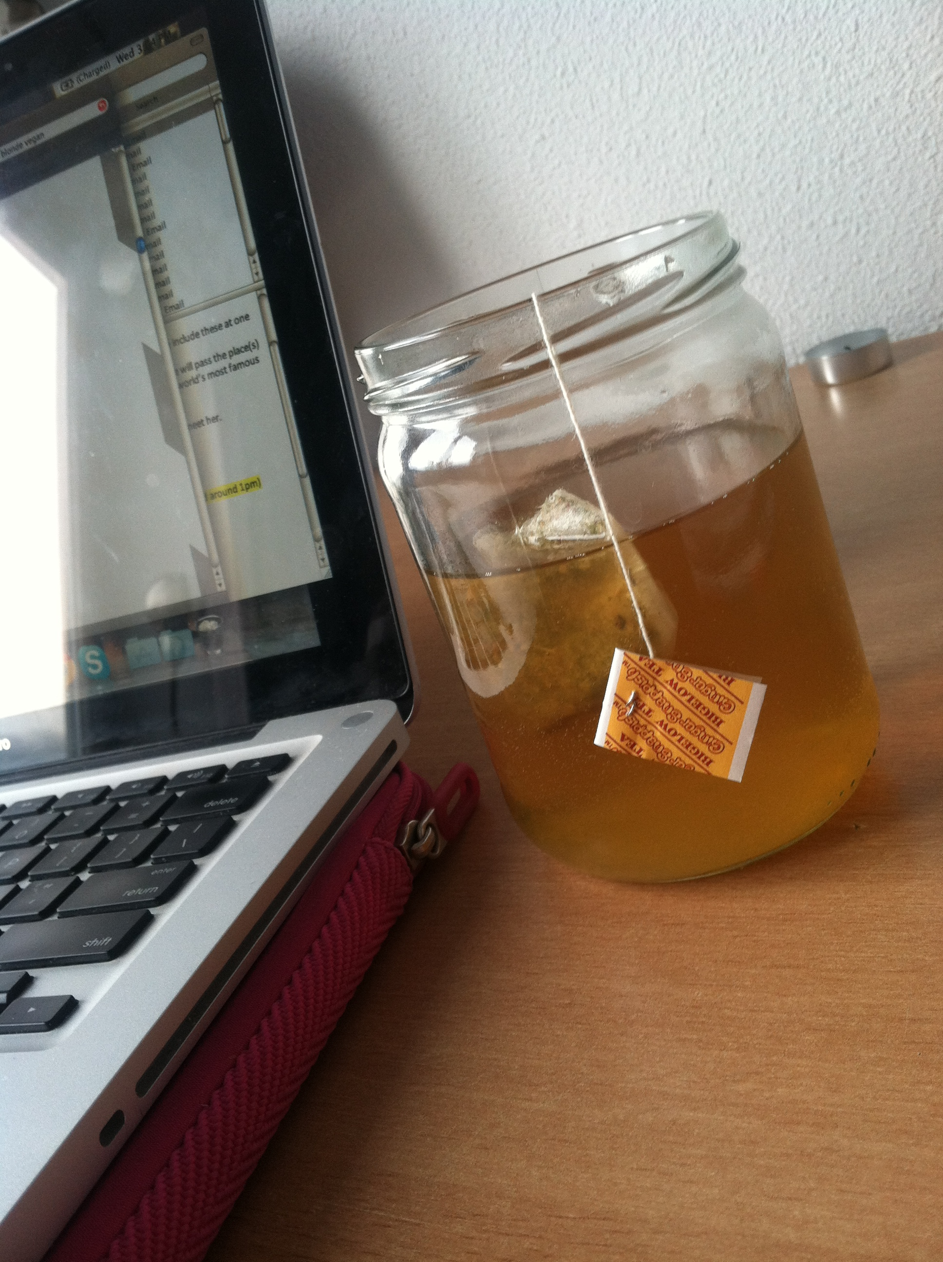 Drinking tea out of glass jar because I actually don't own cups.