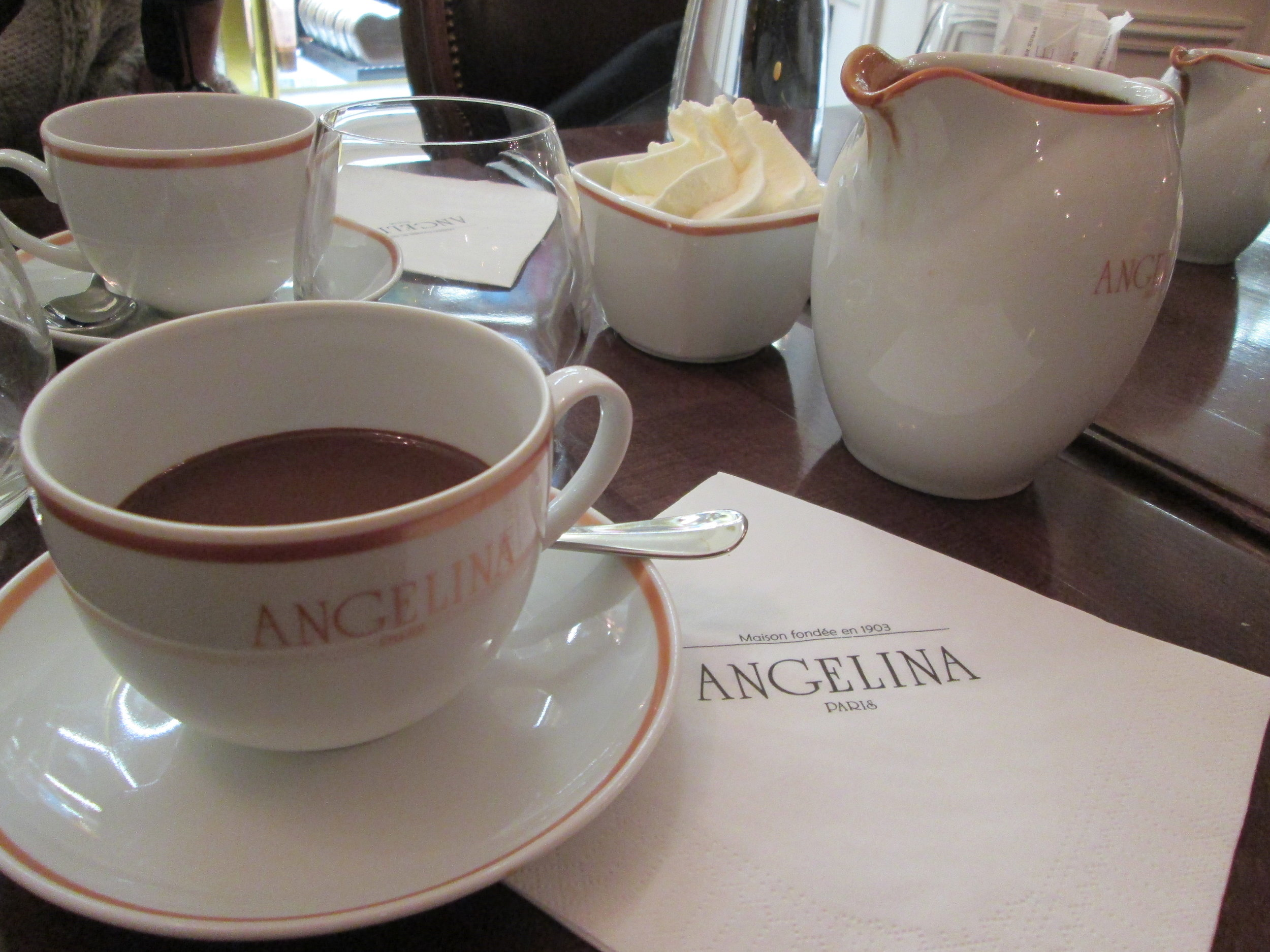 Otherworldly hot chocolate at Angelina's in Galleries Lafayette. Note the mountain of cream.