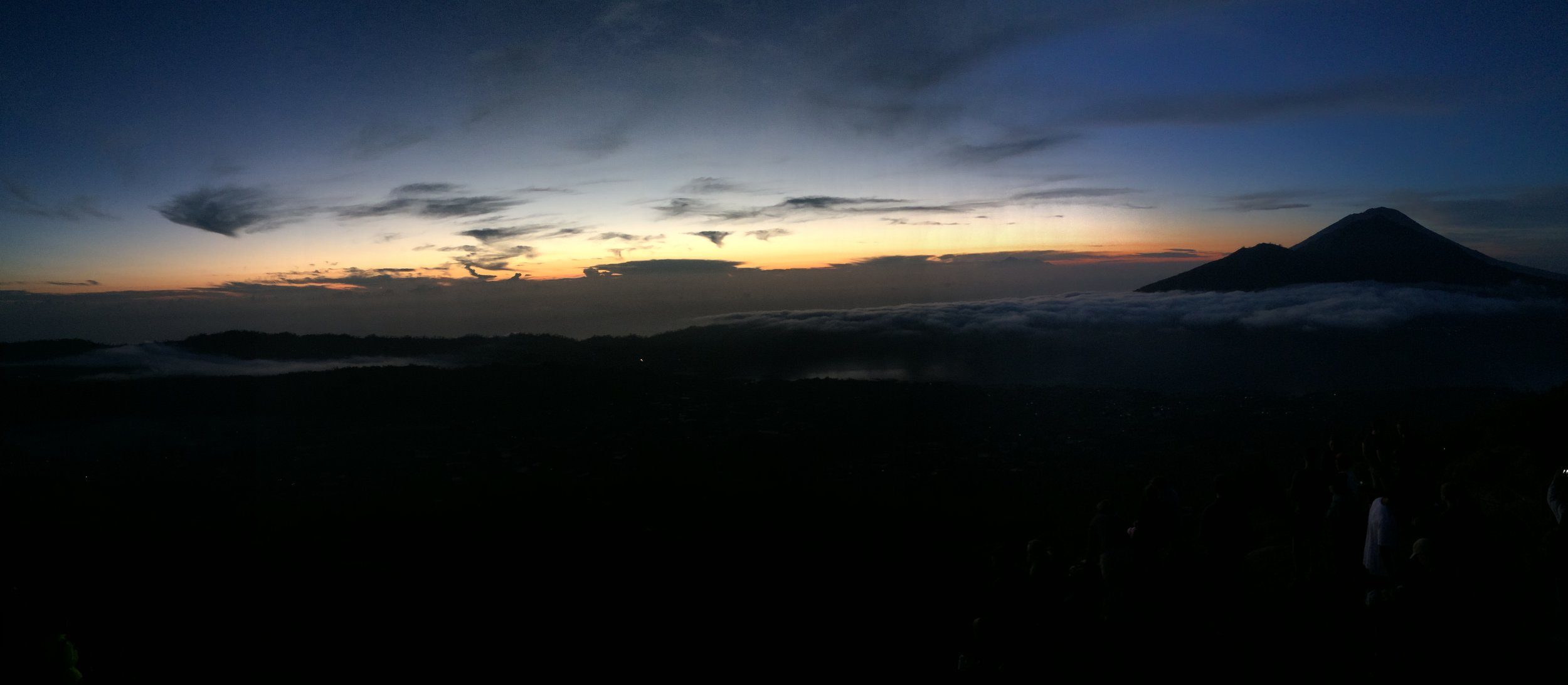 The view from the top of Mt. Batur before sunrise.