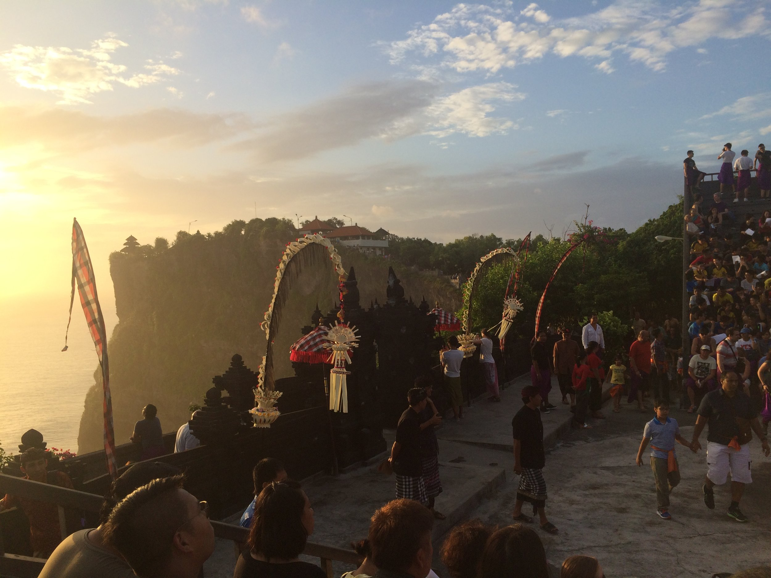 Sunset view for the Kecak dance in Uluwatu Temple.