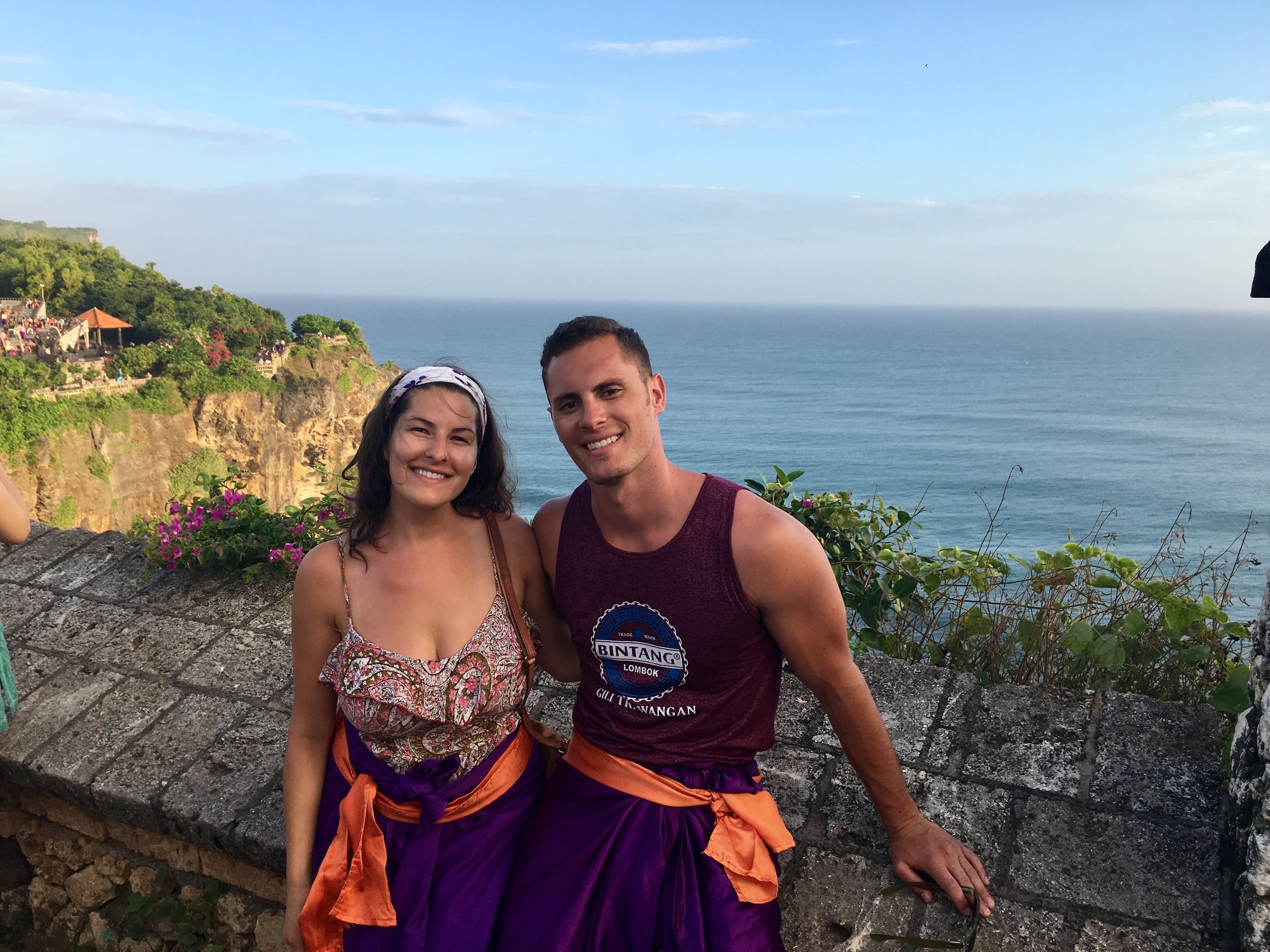 Kev and I in our traditional garb, required for all to enter the Uluwatu Temple.