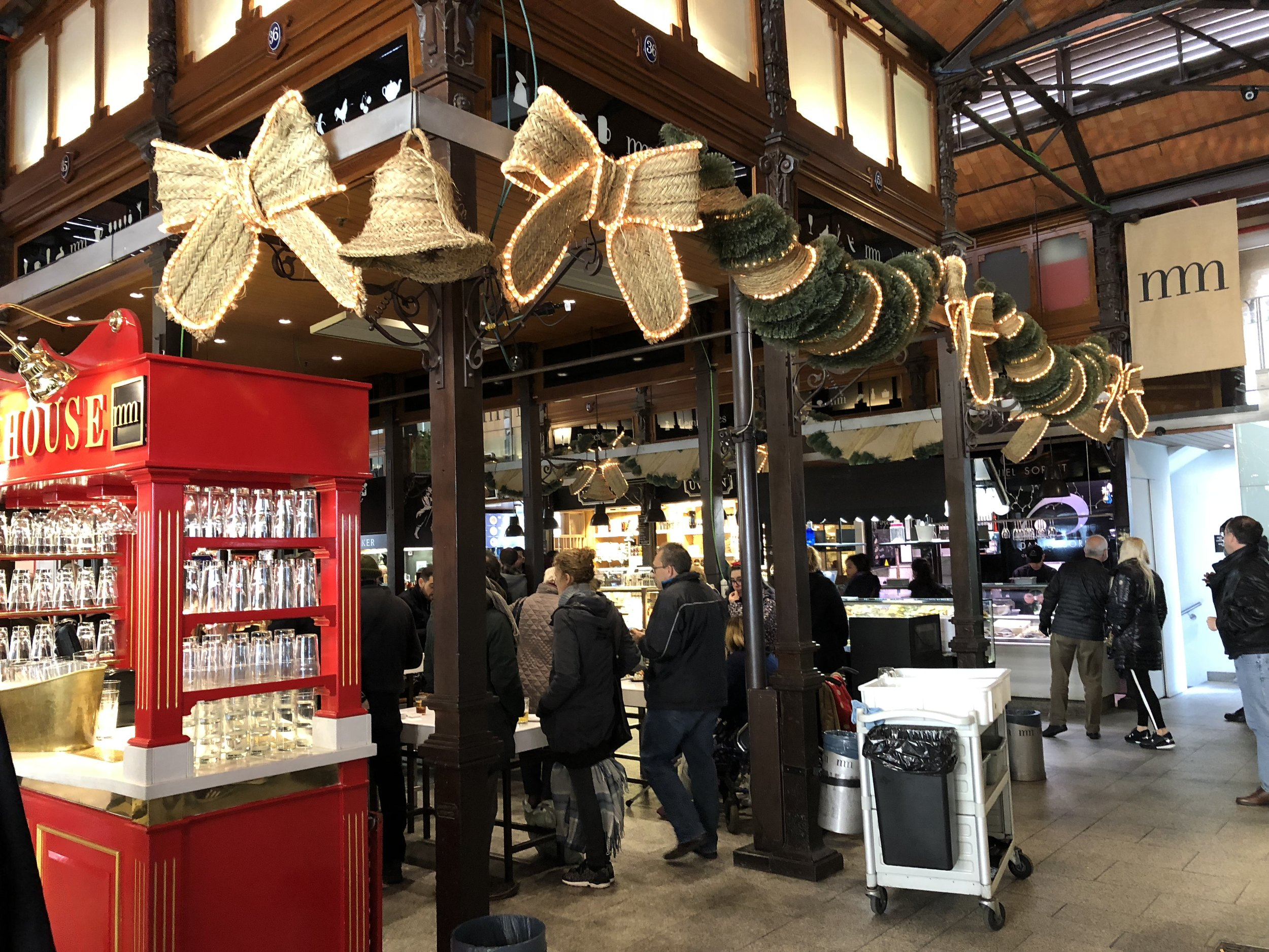 San Miguel Market in Madrid, decorated for the holidays!