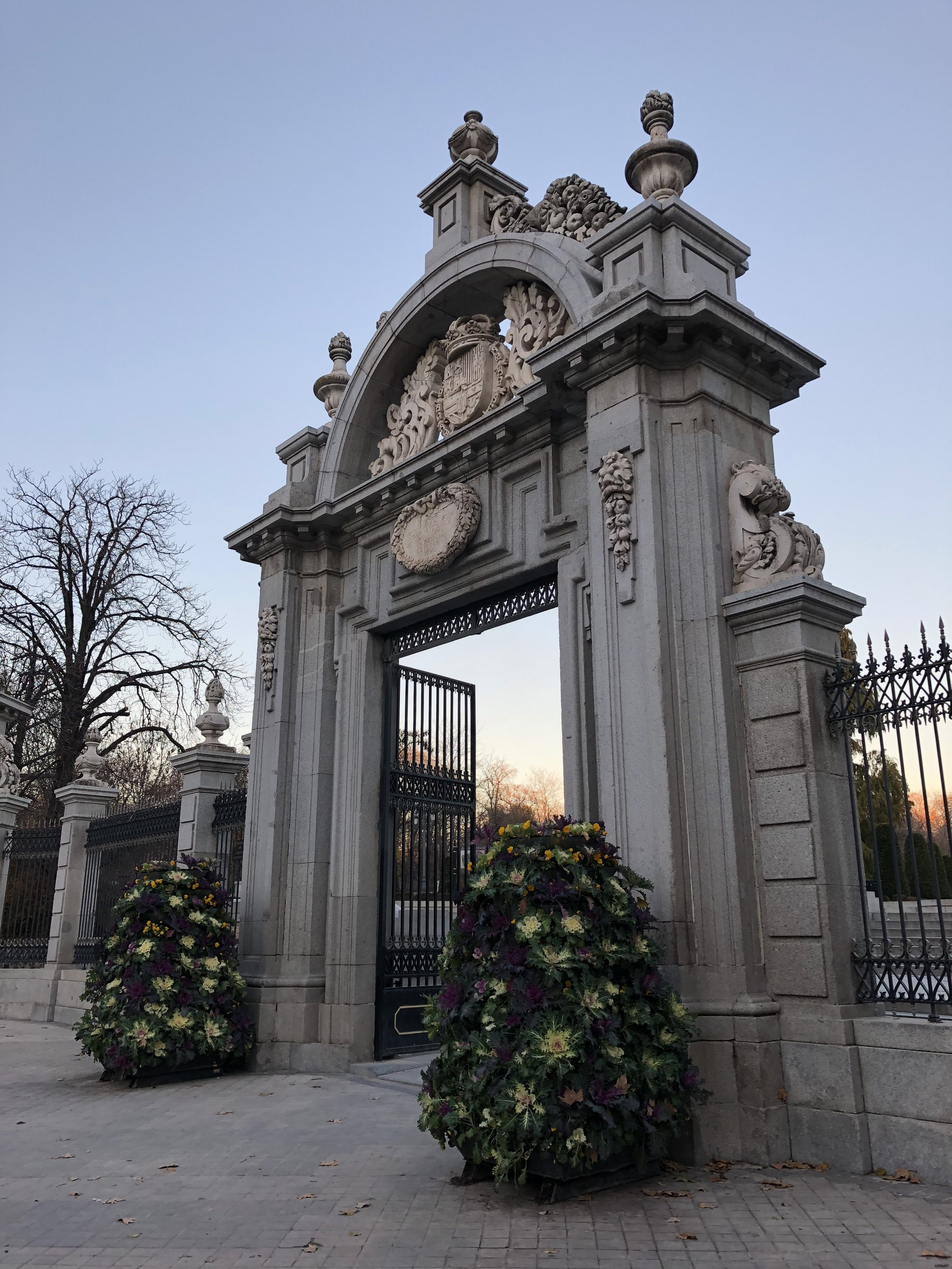 One of the ornate entrances to Retiro Park in Madrid.