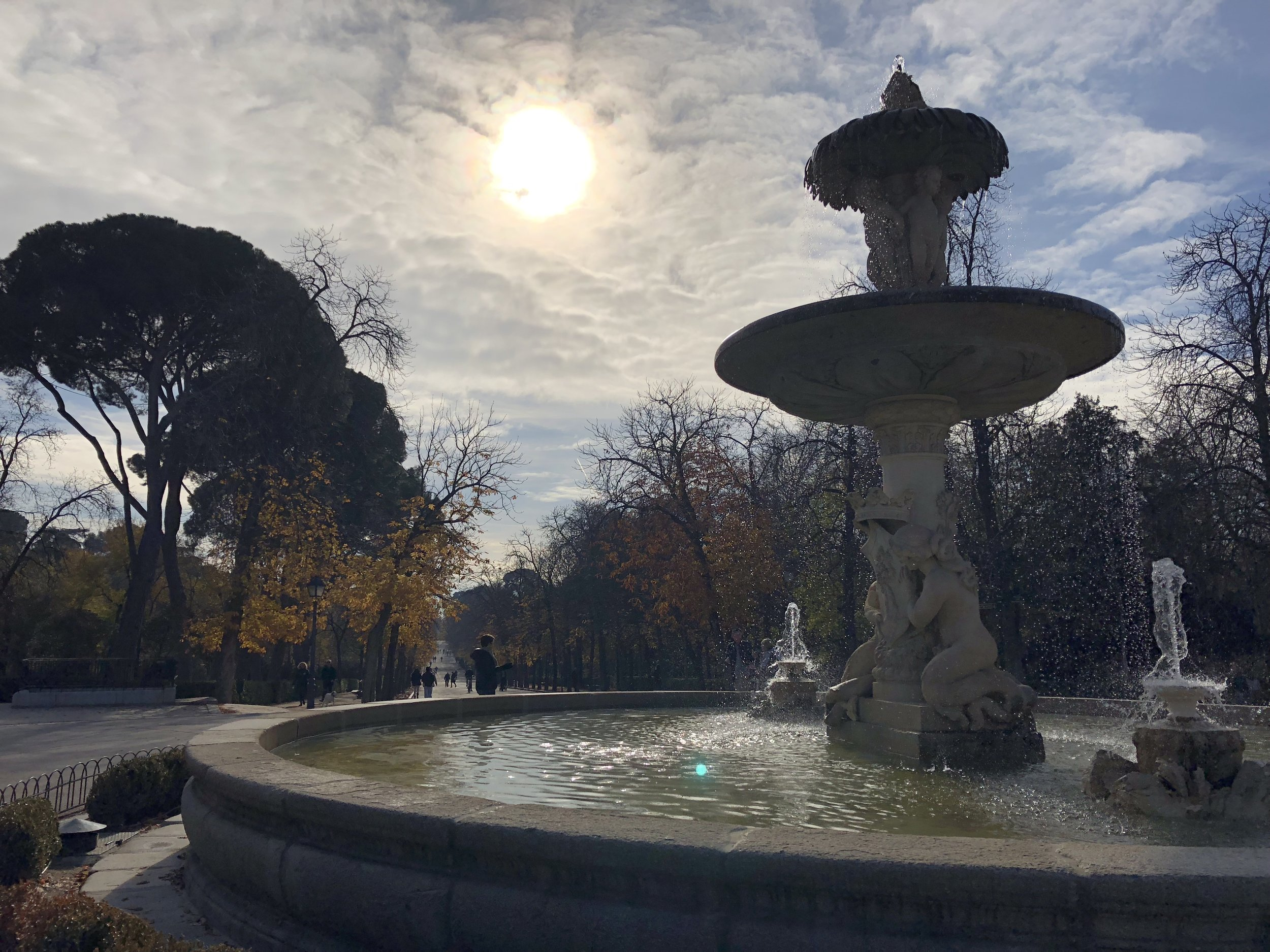 Central fountain at Retiro Park.