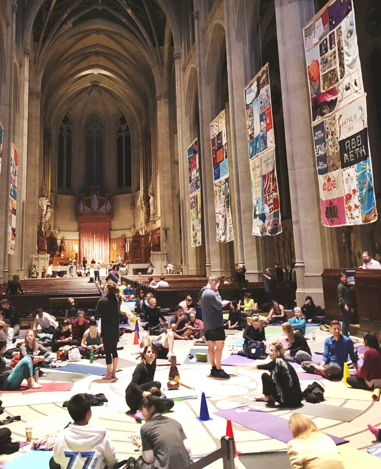 The inside of Grace Cathedral before Tuesday night yoga.