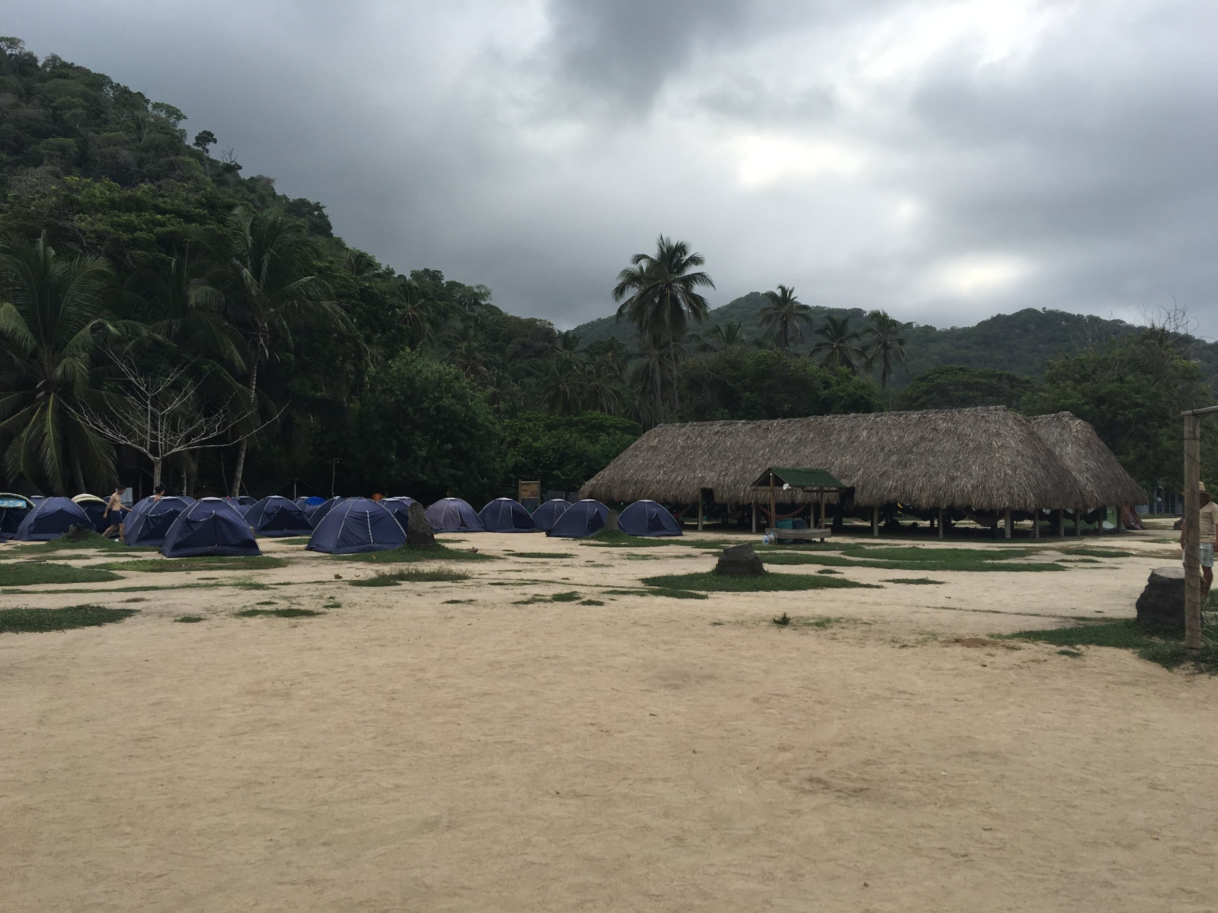 These are the tents inside Tayrona Park. Under the hut is where all of the hammocks are. Just the cold hard facts here people.
