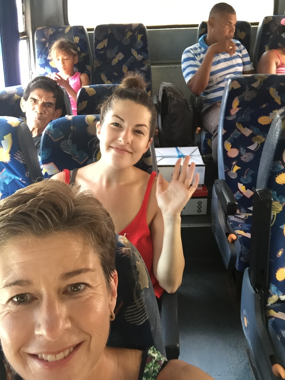 Here's Mom and I on the public bus from Santa Marta to Tayrona. Not pictured: A family and their pet chick, Pollito (yes, a baby bird on a bus).