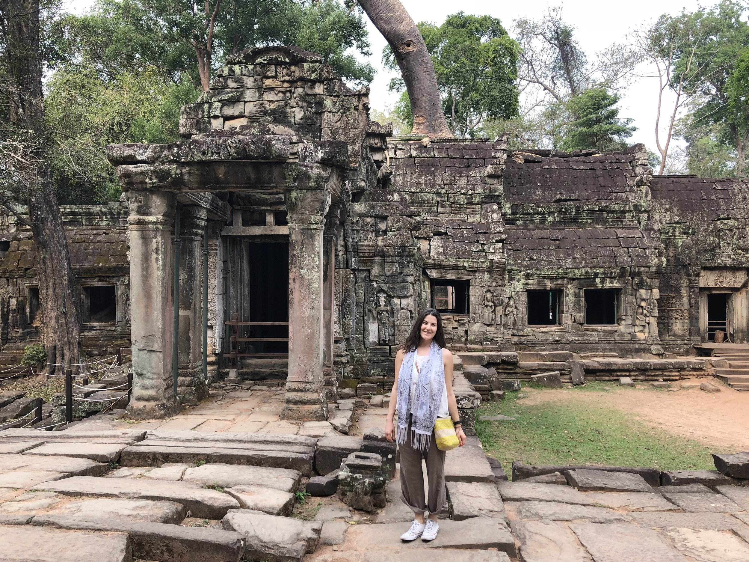 Flowy pants, a shoulder scarf, and comfy walking shoes for our temple tour through Angkor Watt.