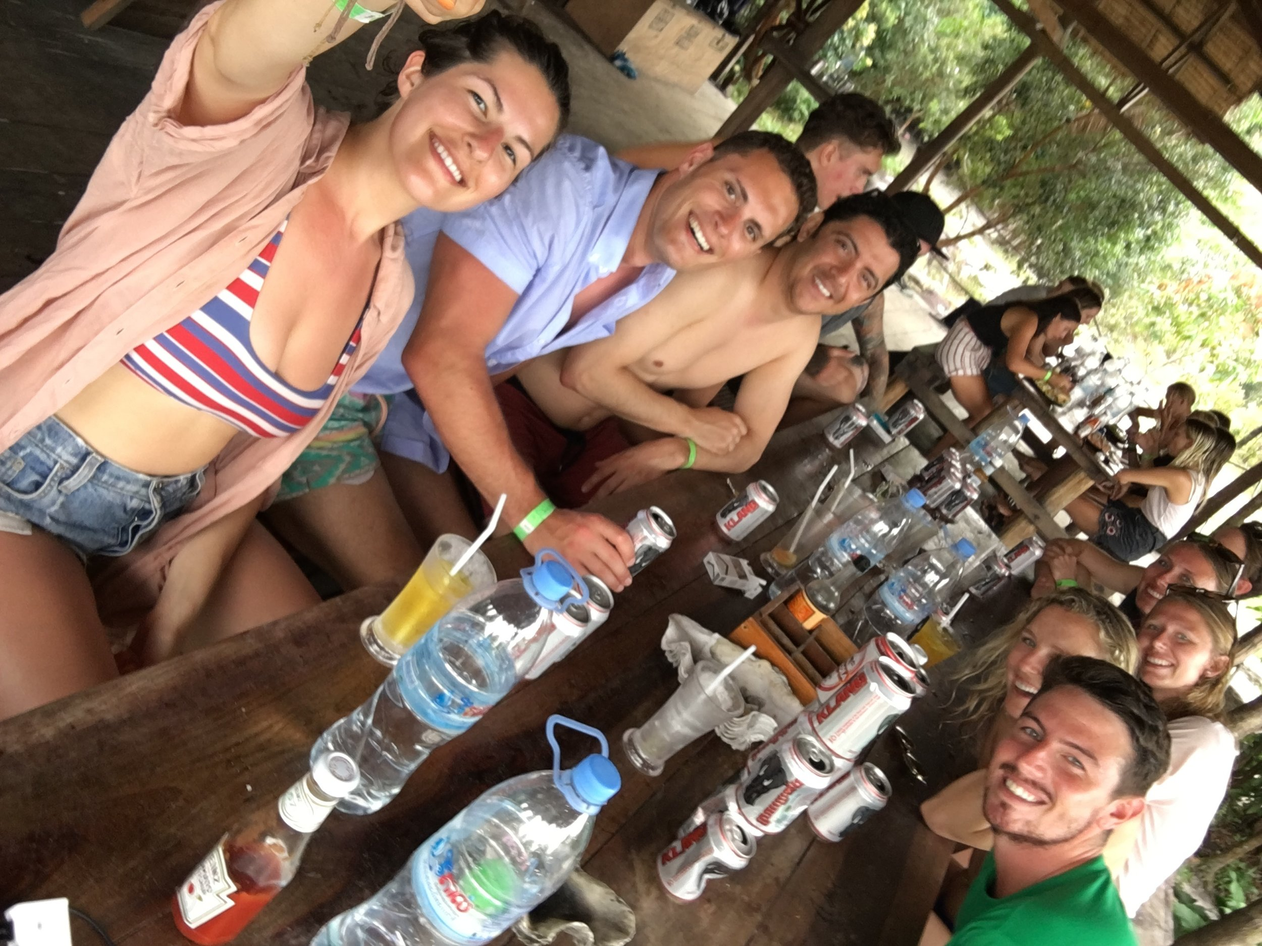 Example of an outfit win and a pharma fail on Koh Rong. Bikini + shorts + light button down = good. Island sun + no aloe vera gel = bad.