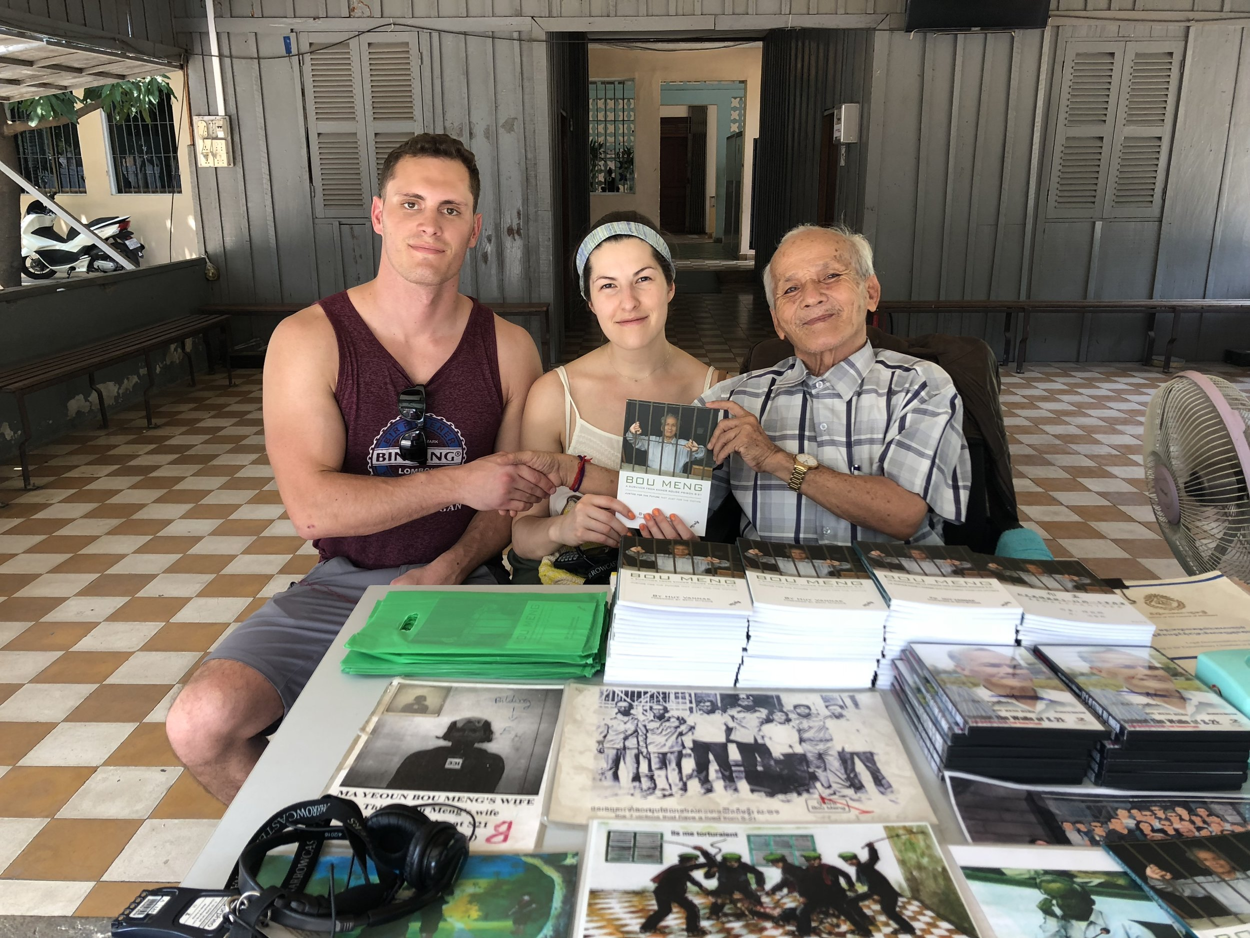 Kevin and I with Bou Meng, one of the survivors of the S-21 Torture Camp.