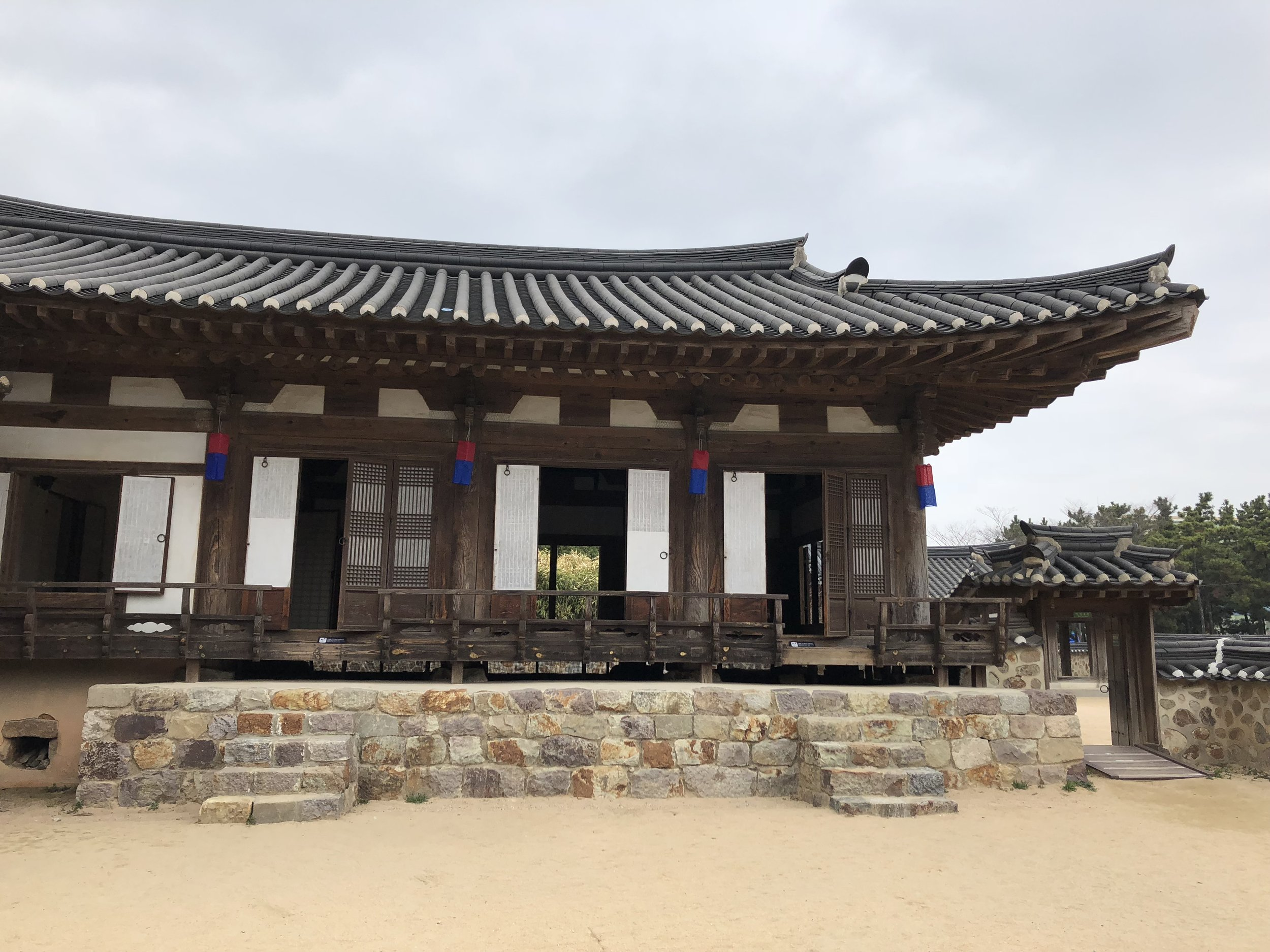 Exploring a replica of a South Korean noble family home on our long layover in Incheon.