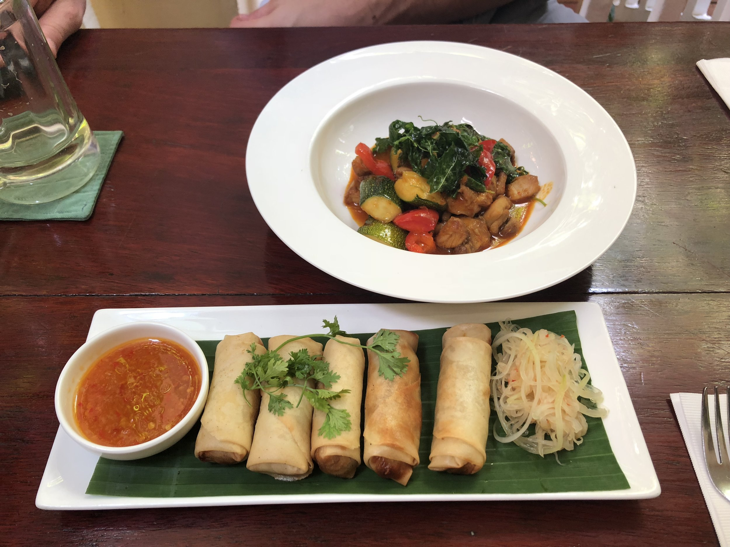 Our lunch of spring rolls and cashew chicken at Romdeng in Phnom Pehn.