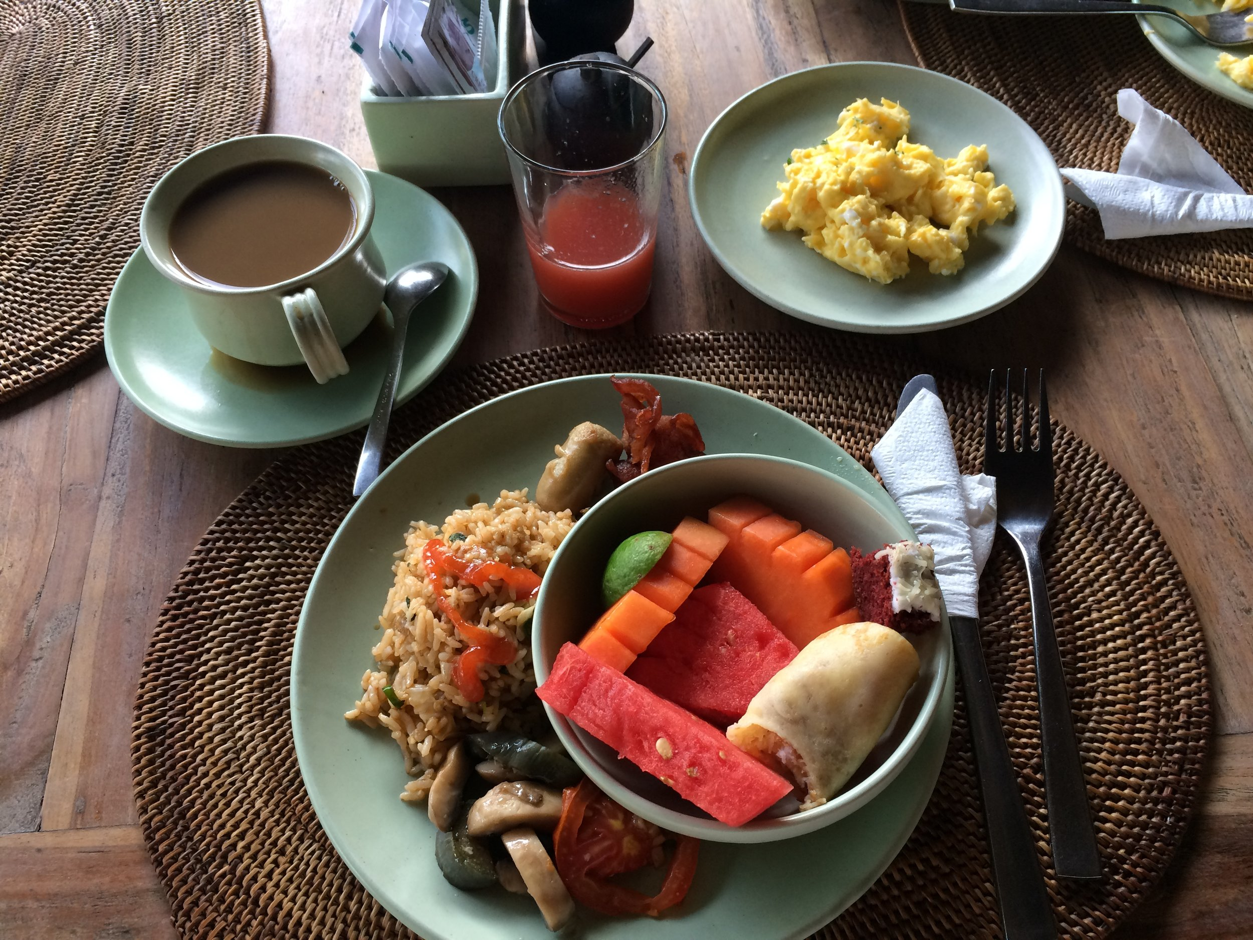 Free breakfast buffet at our Ubud palace hotel, including the requisite Nasi Goreng.