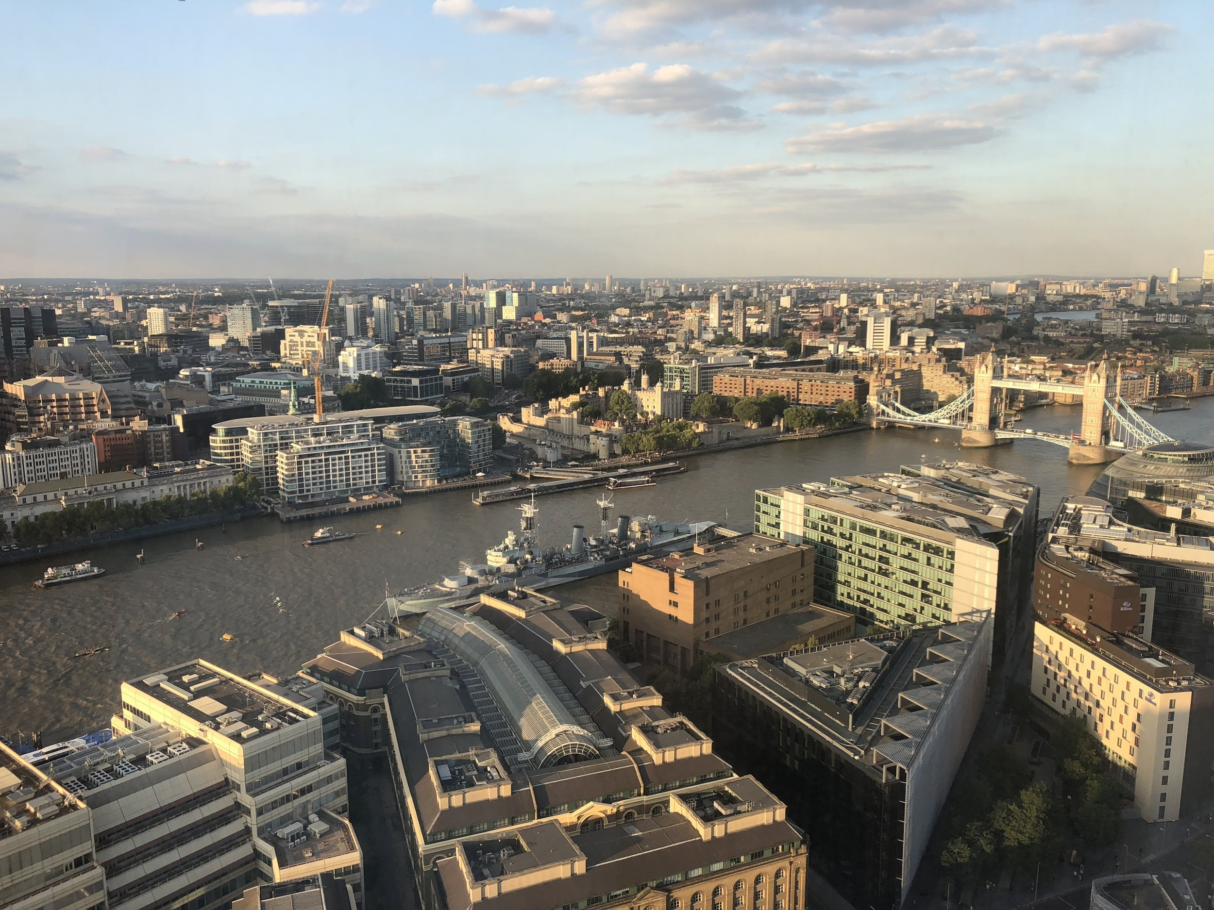 Sunset view from the 32nd floor of The Shard. Drinks ain't cheap, but the view is -- priceless.