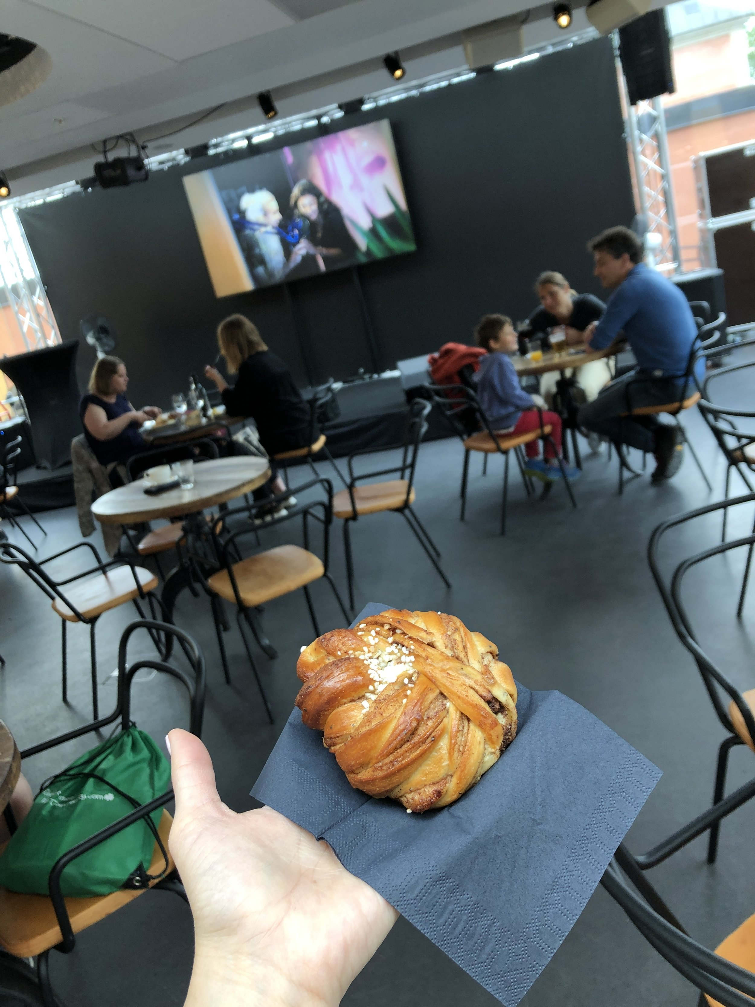 Grabbing a spot of fika (Swedish culturally-enshrined coffee/pastry time) in the Pop Hotel of the ABBA Museum. Swedish pastries are only ok.