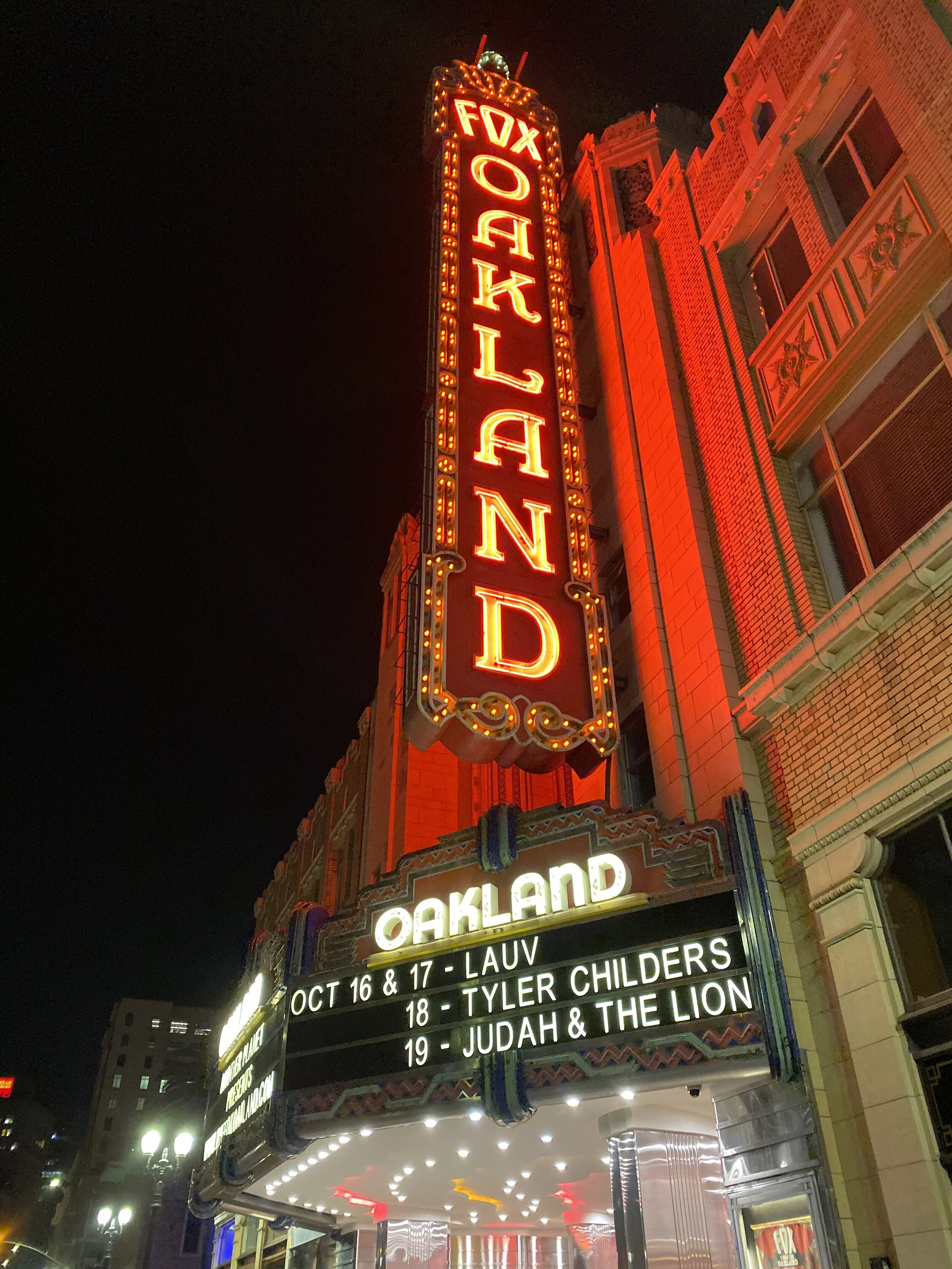 The Fox Theater in Oakland, where we saw Lauv perform.
