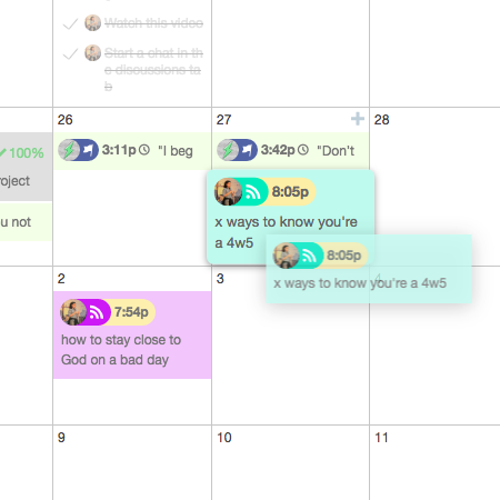 A snapshot from my own marketing calendar, mid-drag.