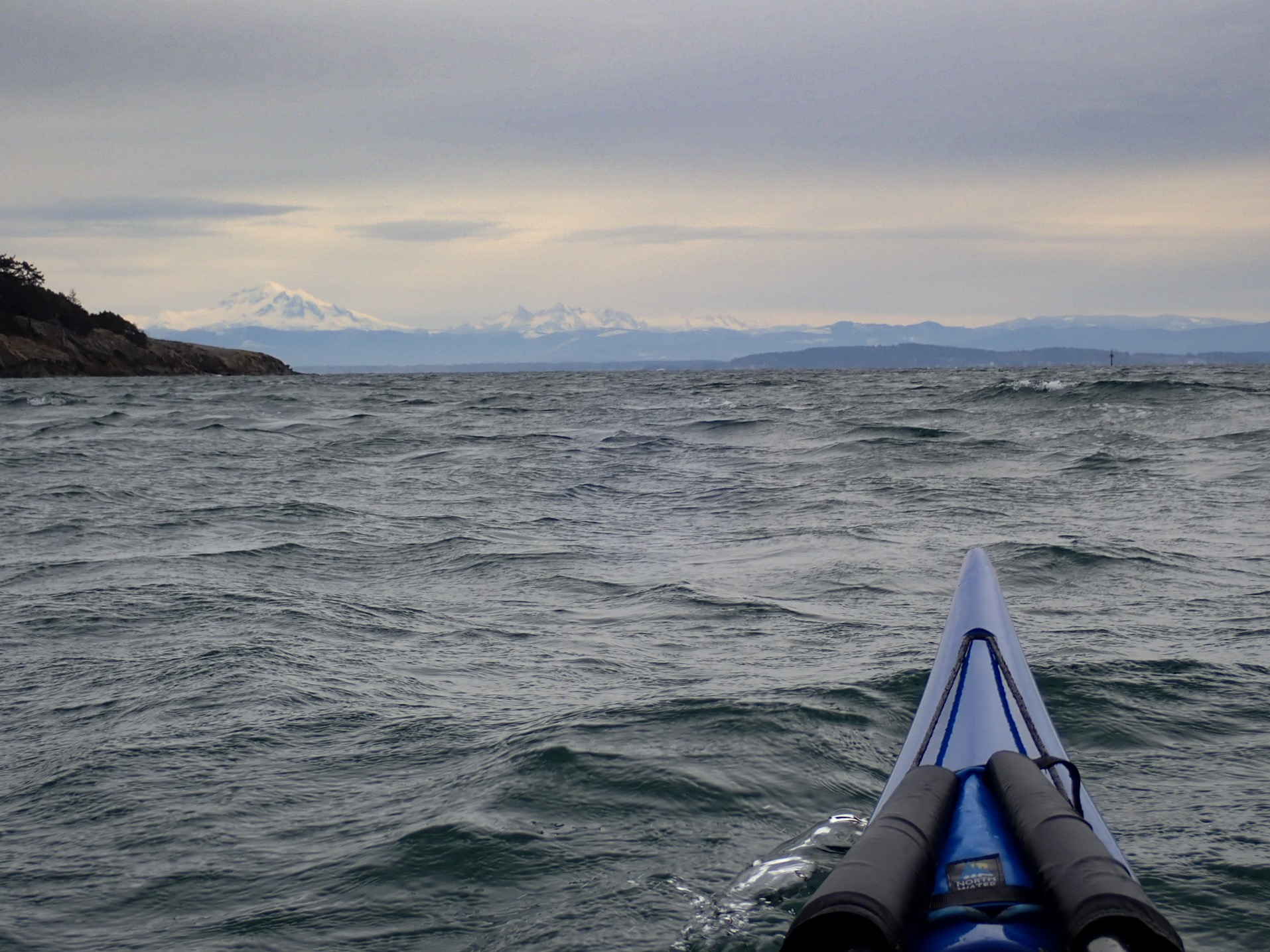 The view out to Mt Baker on a morning paddle.