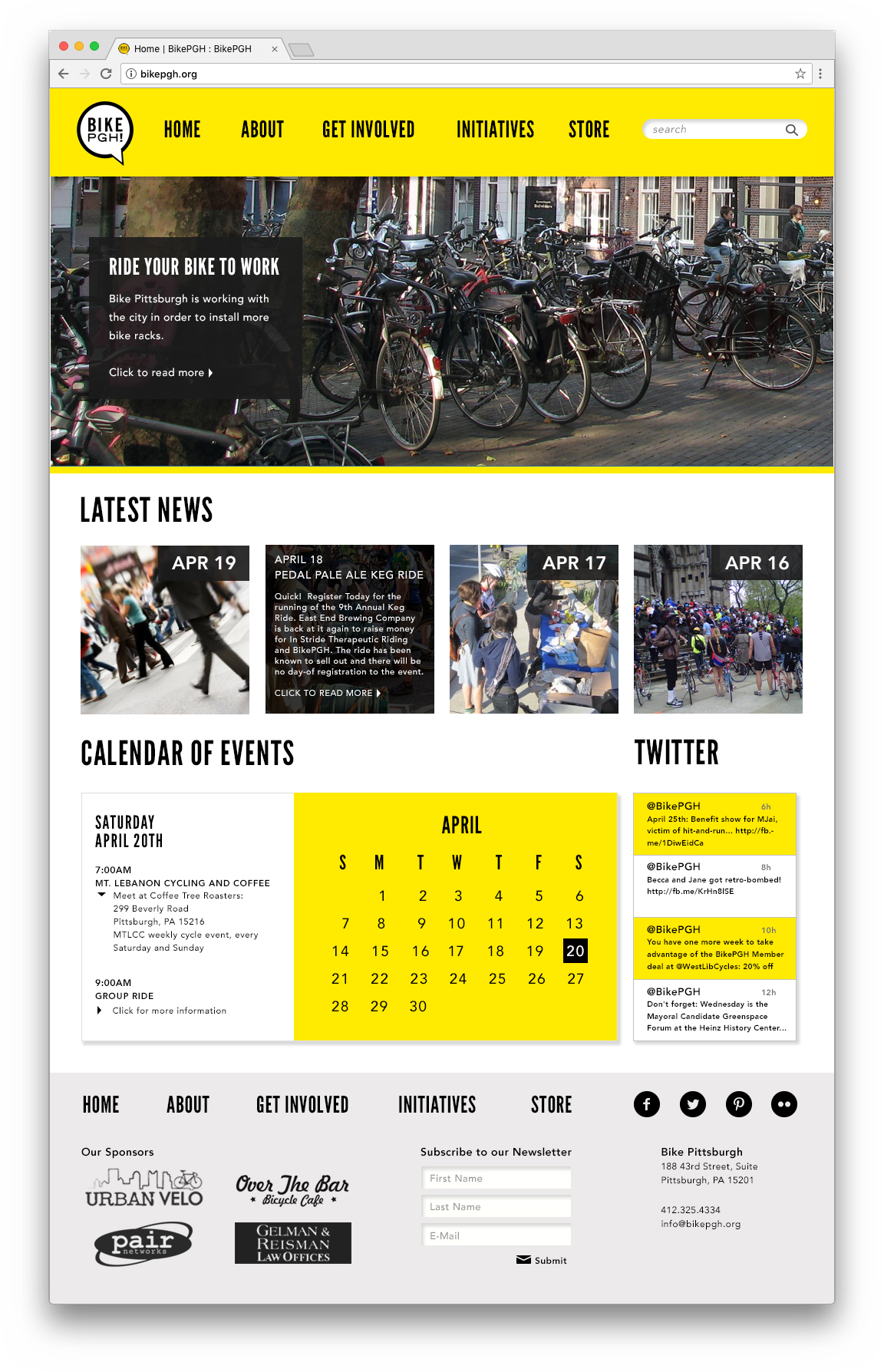 Redesigned homepage