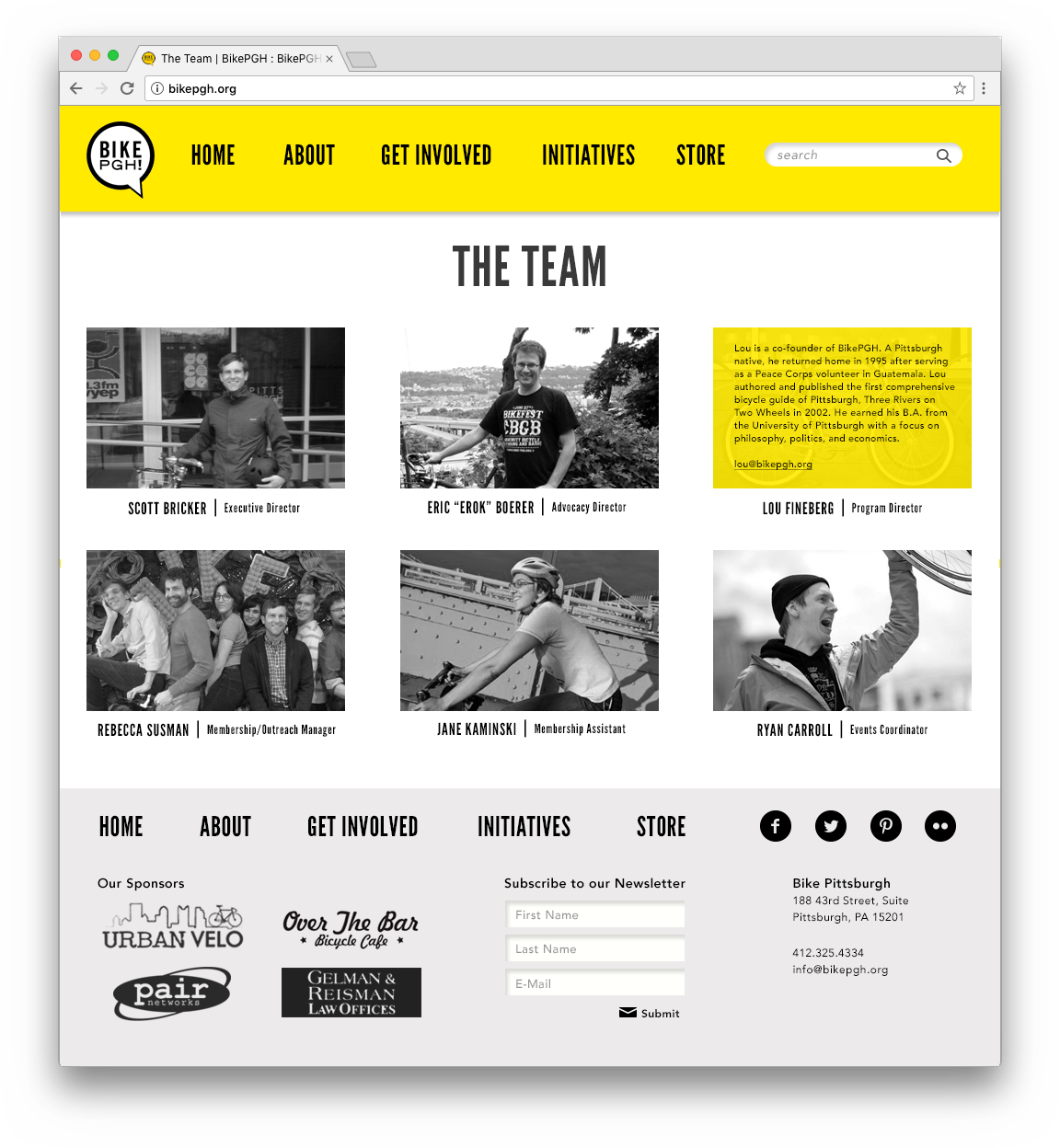 Redesigned team page