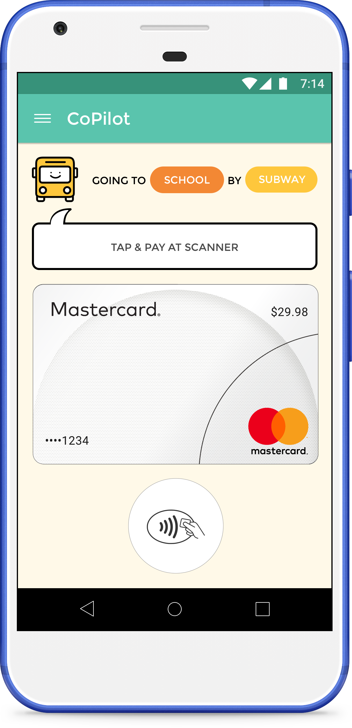 Tap & pay screen