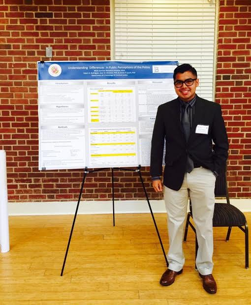 Edwin presenting his research after a summer   internship   at the University of Maryland, College Park.    Tell us a bit about yourself, who was Edwin Rodriguez before becoming a full-fledged professional?    I grew up in Montgomery County, Maryland; I've lived there my entire life. I attended Bethesda Chevy-Chase High School and graduated from both Montgomery College and the University of Maryland, College Park. I'm of Salvadoran descent; both my parents are from El Salvador.      Can you speak about your high school experience?   As I mentioned, I went to Bethesda Chevy-Chase High School. My experience there, I think, was a very fortunate one. It's a very well-funded high school. I had access to both   AP   and   IB   courses. I also had access to an organization called   College Tracks  . Essentially what College Tracks does is help students in high school apply to college and exposes you to the intricacies of life after you get accepted and arrive at college.   Do you feel that your time in high school was impacted because you are a first-generation student?   Absolutely. The reason I mentioned College Tracks is because I had no idea what the first step to applying to college was even like. I felt very overwhelmed because a lot of my friends had parents who had gone to college and they were going through the process so naturally, I was always too embarrassed to say I don't even know where to find the application.   Can you describe what College Tracks did for you during your college application process?   College Tracks helped me with everything regarding the college application process. The first thing they did was ask me what my interests were and where I was thinking of applying. If you had no idea how to answer those questions, they helped you with that too. They helped me write the application essays, fill out the   FAFSA   for financial aid purposes, and write my resume. Basically, they made sure that my materials were clean and professional. It was definitely a big advantage.
