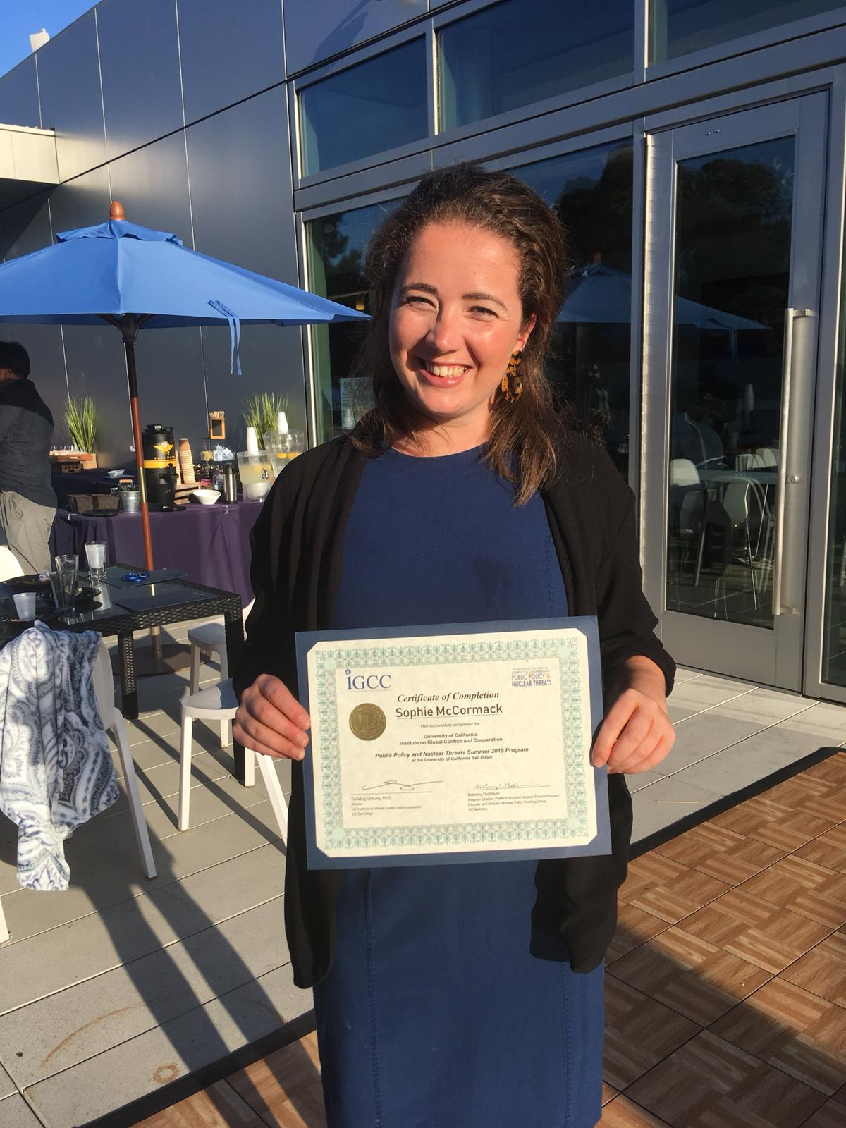 Sophie recently completed a Public Policy and Nuclear Threats course hosted at the University of San Diego.