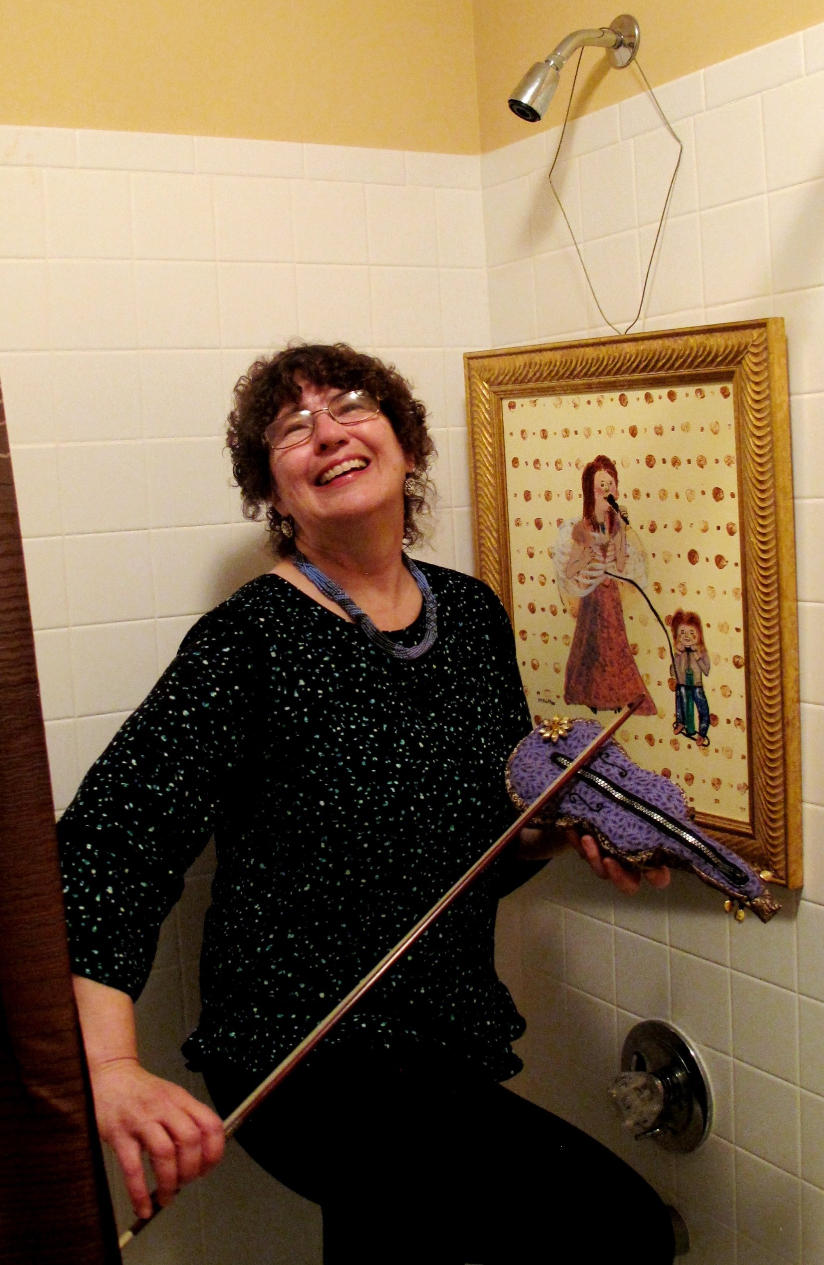 becky posing in shower violin Pam.JPG