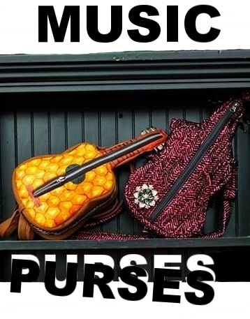 Violin Purse, Guitar Purse and Piano Purse by Becky