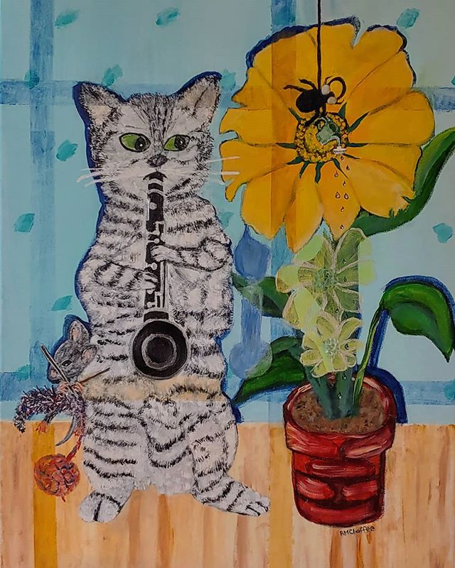 Does your music make plants grow?  #cat #music #clarinet #musiclessons #musicteachers #musiclovers